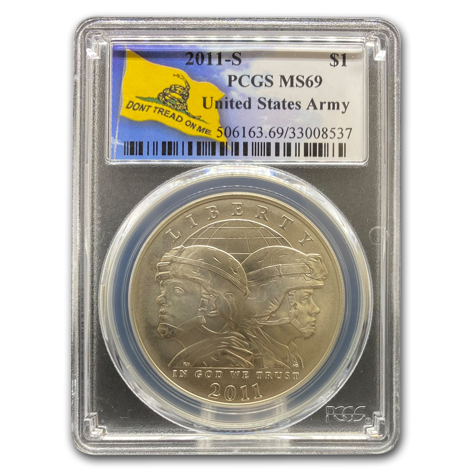2011-S United States Army $1 Silver Commem MS-69 PCGS