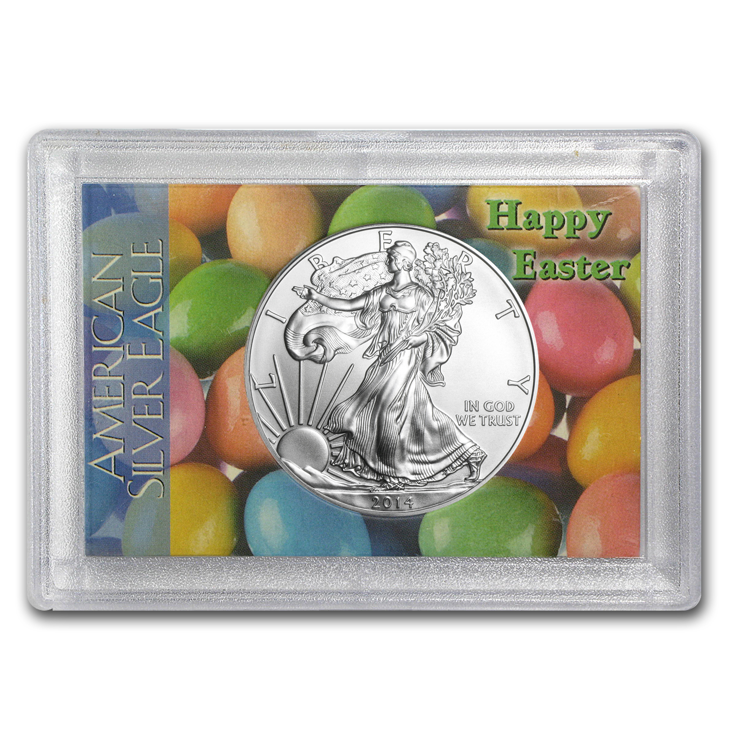 2014 1 oz Silver Eagle in Happy Easter Design Harris Holder