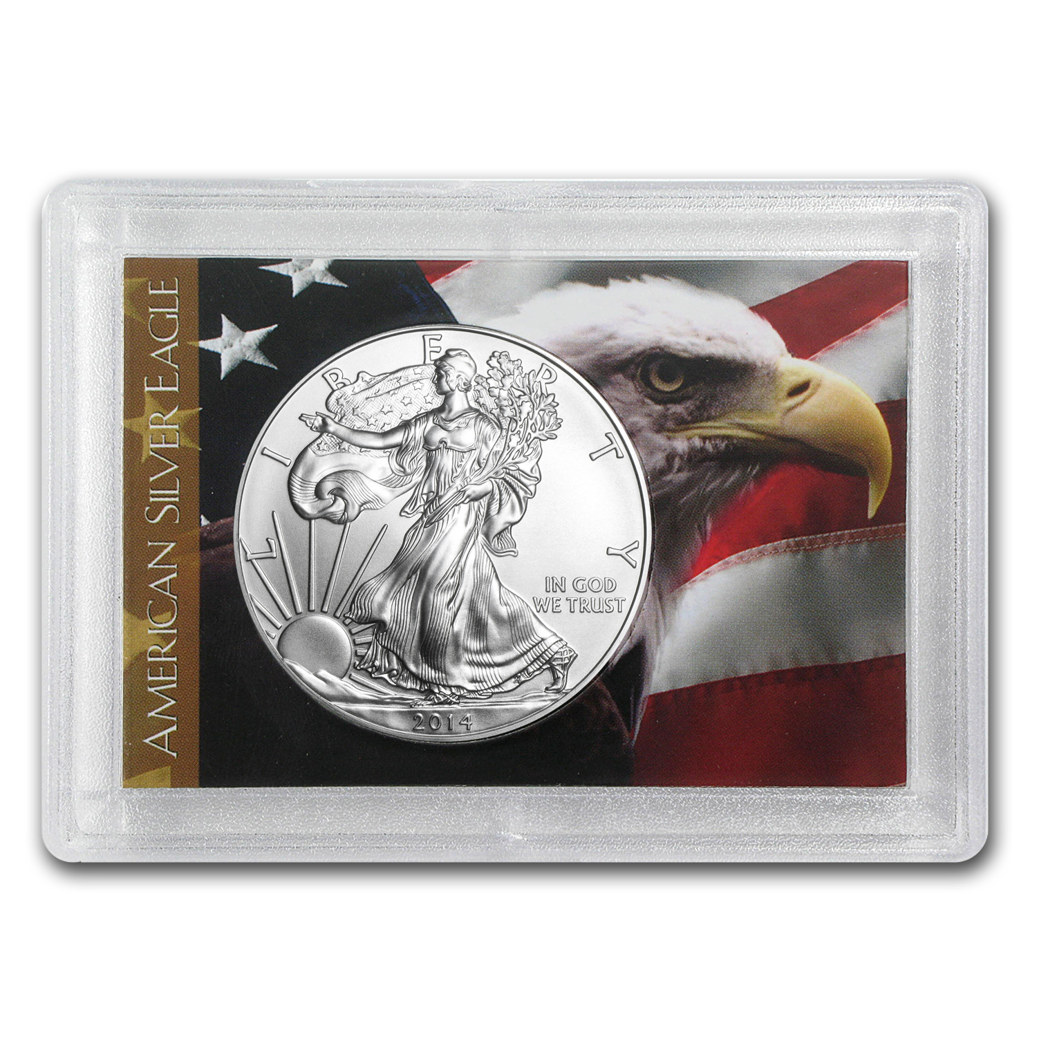 2014 1 oz Silver American Eagle (Flag/Eagle Design Harris Holder)
