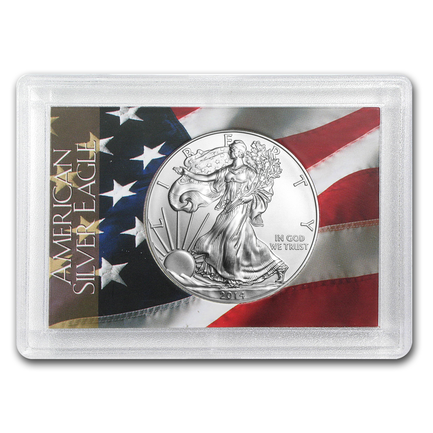 2014 1 oz Silver American Eagle BU (Flag Design Harris Holder)
