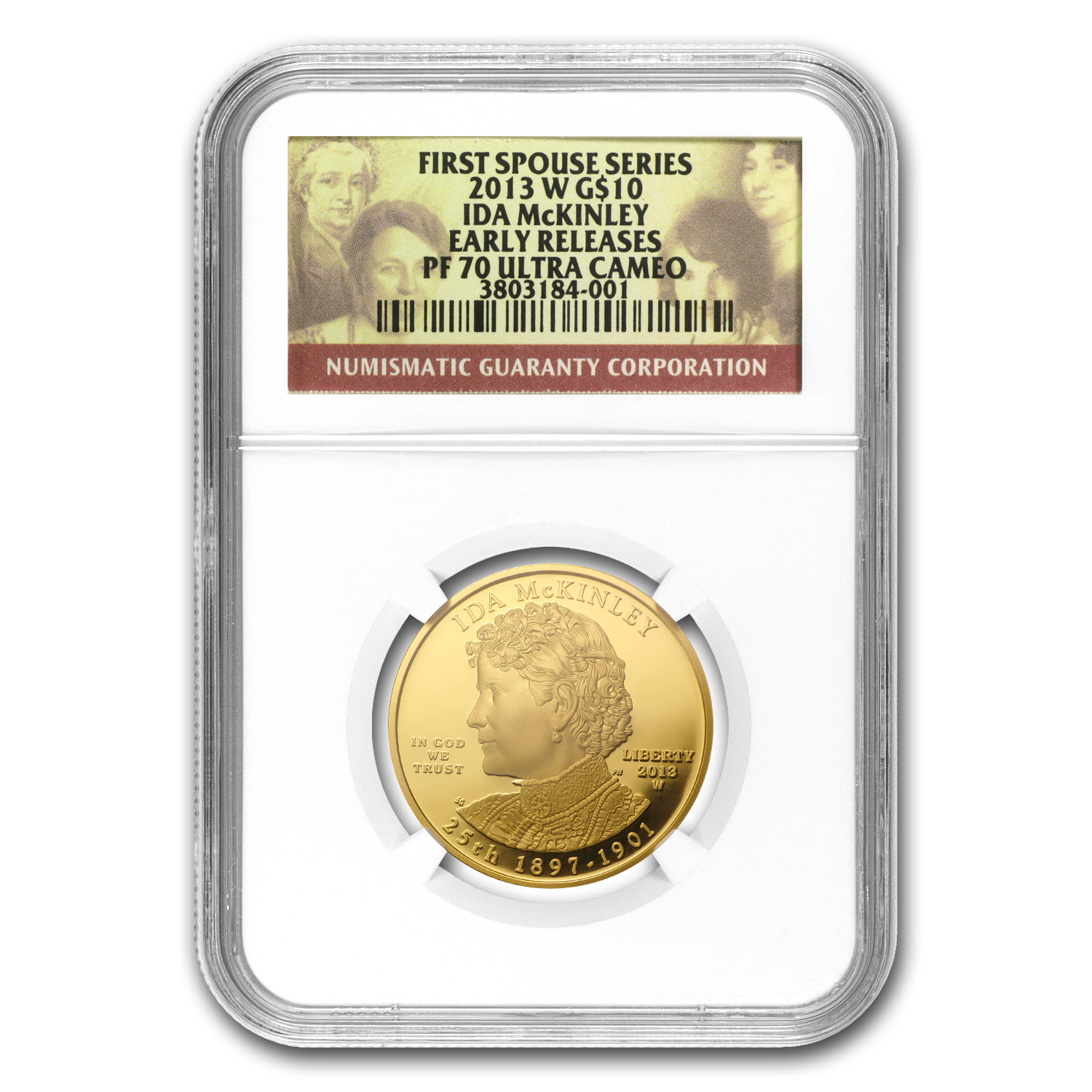 2013-W 1/2 oz Proof Gold Ida McKinley PF-70 NGC (ER)