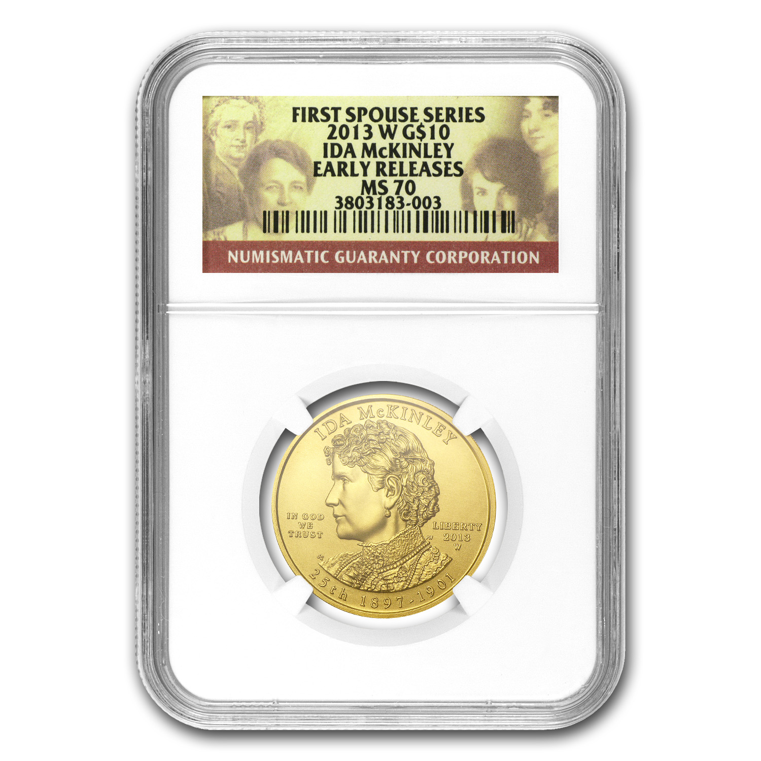 2013-W 1/2 oz Gold Ida McKinley MS-70 NGC (Early Release)