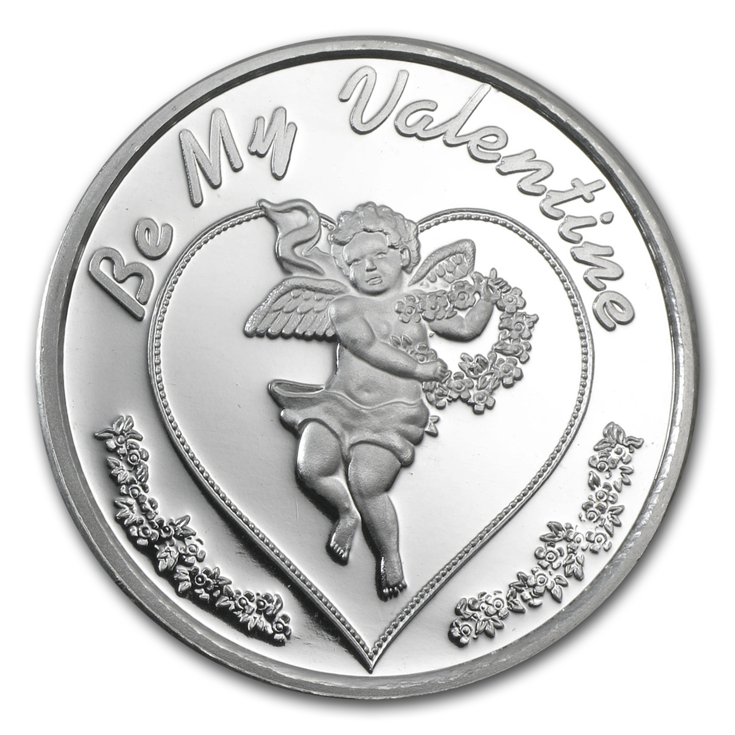 1 oz Be My Valentine Cupid Silver Round (w/ box & cap)