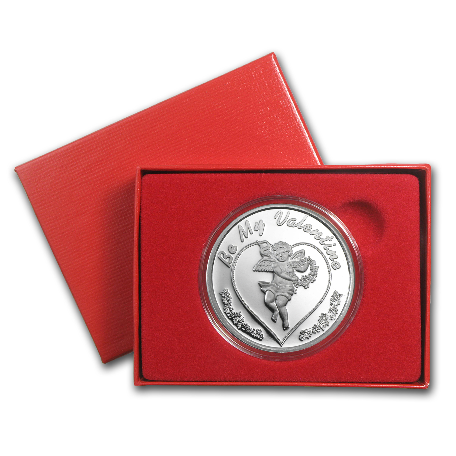 1 oz Silver Round - Be My Valentine Cupid (w/ Box & Capsule)