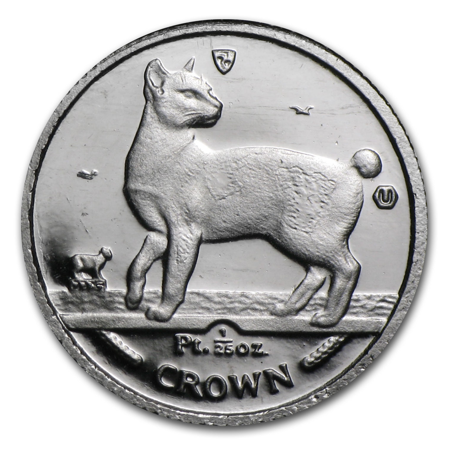 1994 Isle of Man 1/25 oz Platinum Persian Cat