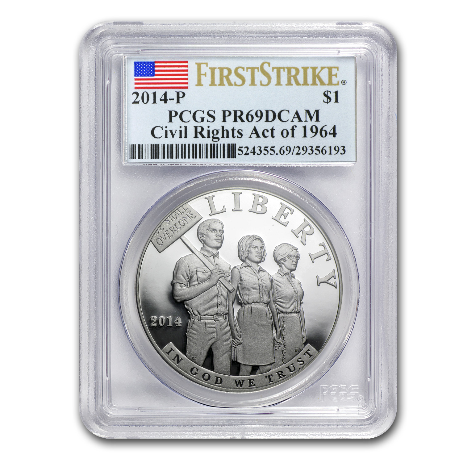 2014-P Civil Rights of 1964 $1 Silver Commem PR-69 DCAM PCGS (FS)