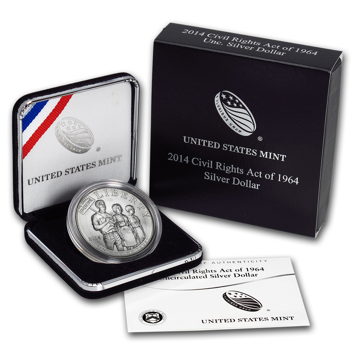2014-P Civil Rights of 1964 $1 Silver Commem BU (w/Box & COA)