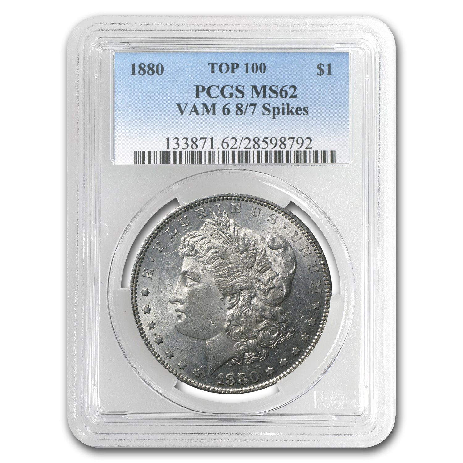 1880 Morgan Dollar MS-62 PCGS (VAM-6, 8 over 7 Spikes)