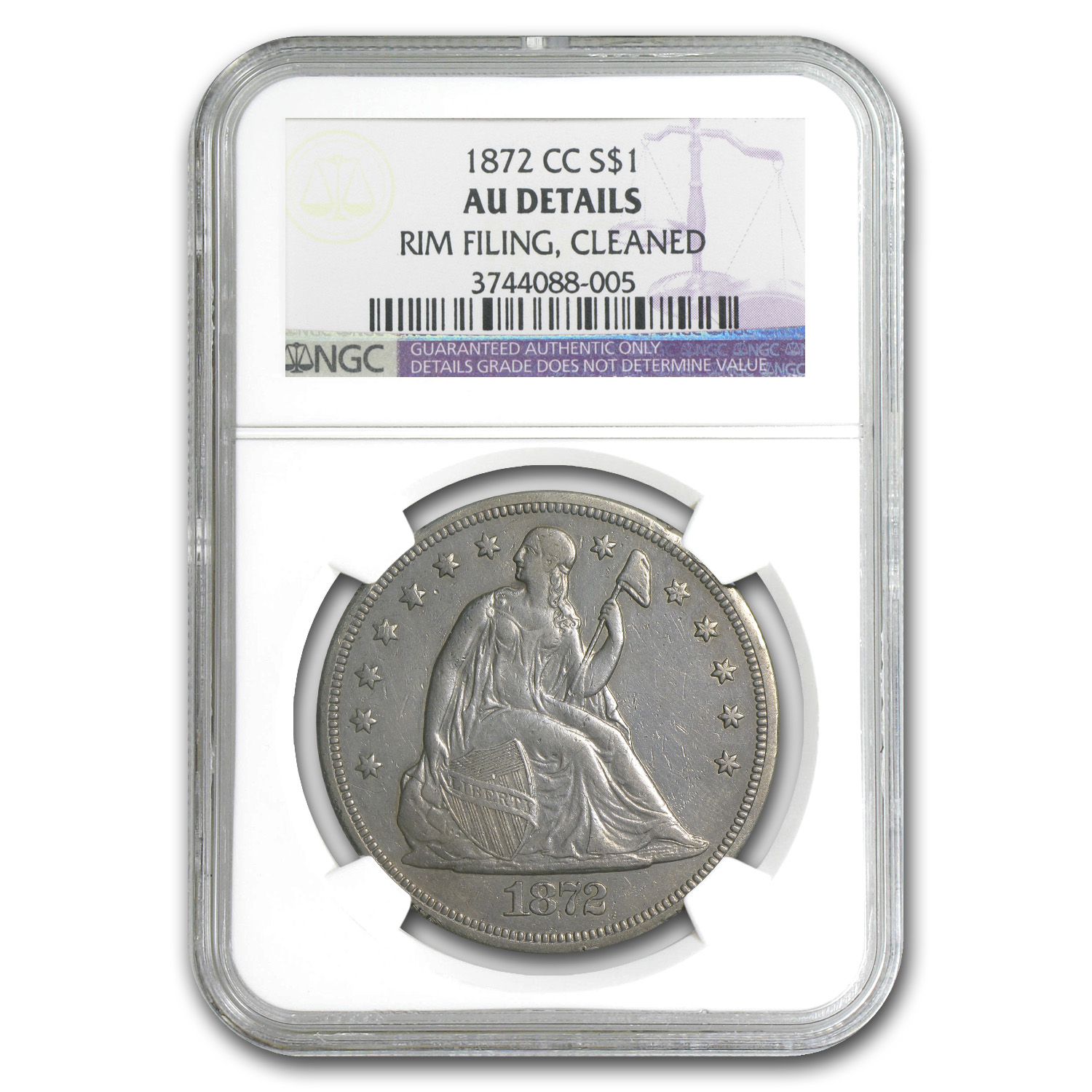 1872-CC Liberty Seated Dollar AU Details NGC (Cleaned)