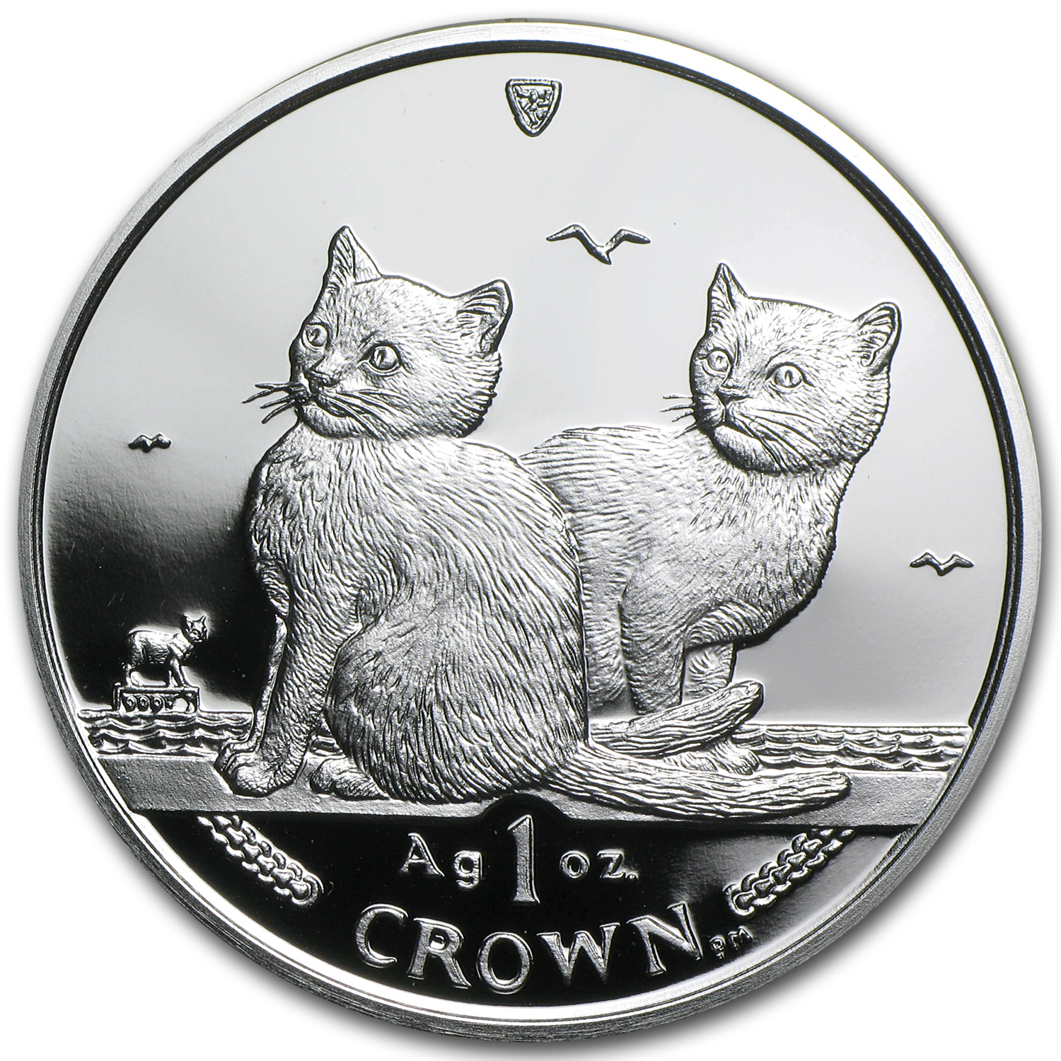 Isle of Man 2003 1 Crown Silver Proof Balinese Cats