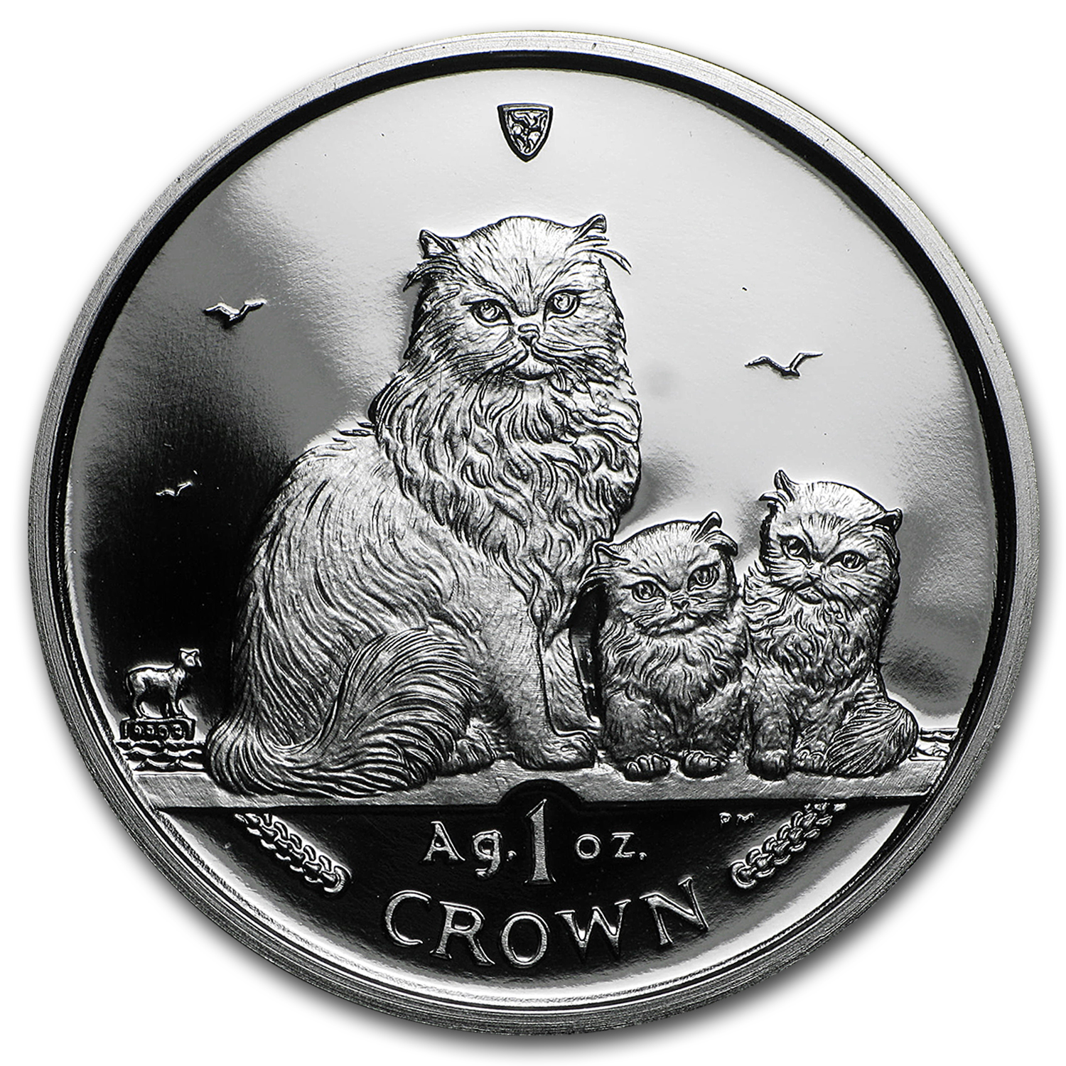 Isle of Man 2005 1 Crown Silver Proof Himalayan Cats