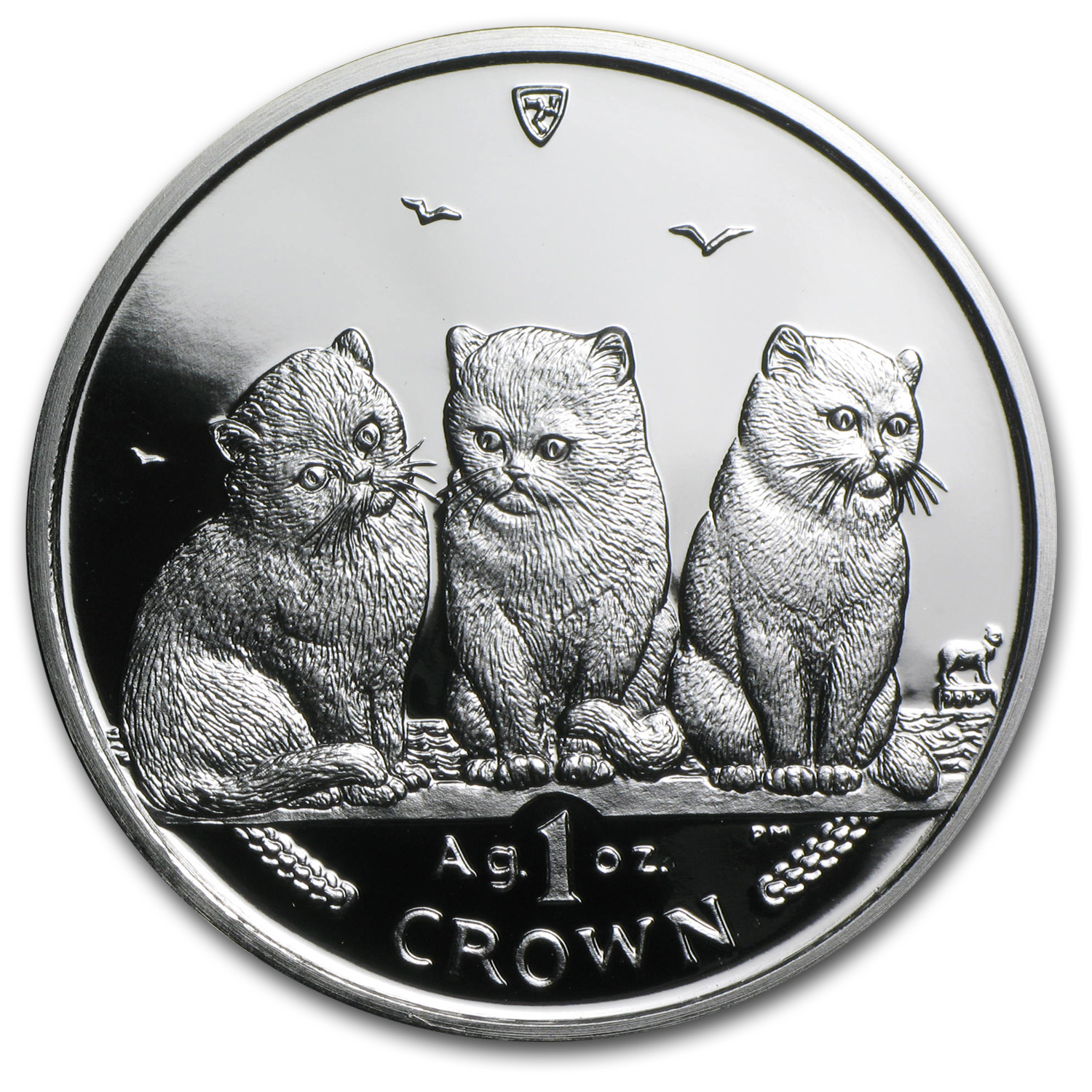 2006 Isle of Man Silver 1 Crown Shorthair Cats Proof