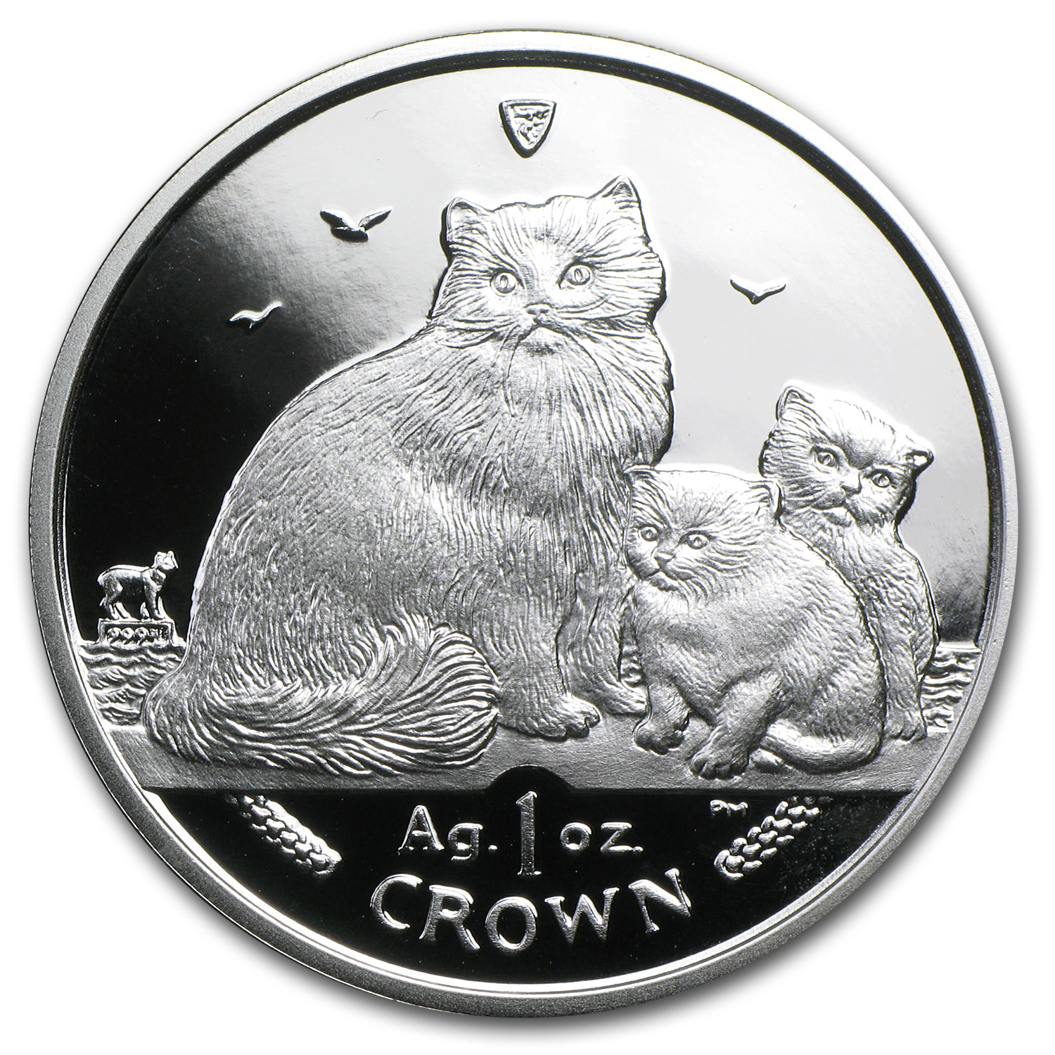 Isle of Man 2007 1 Crown Silver Ragdoll Cats Proof