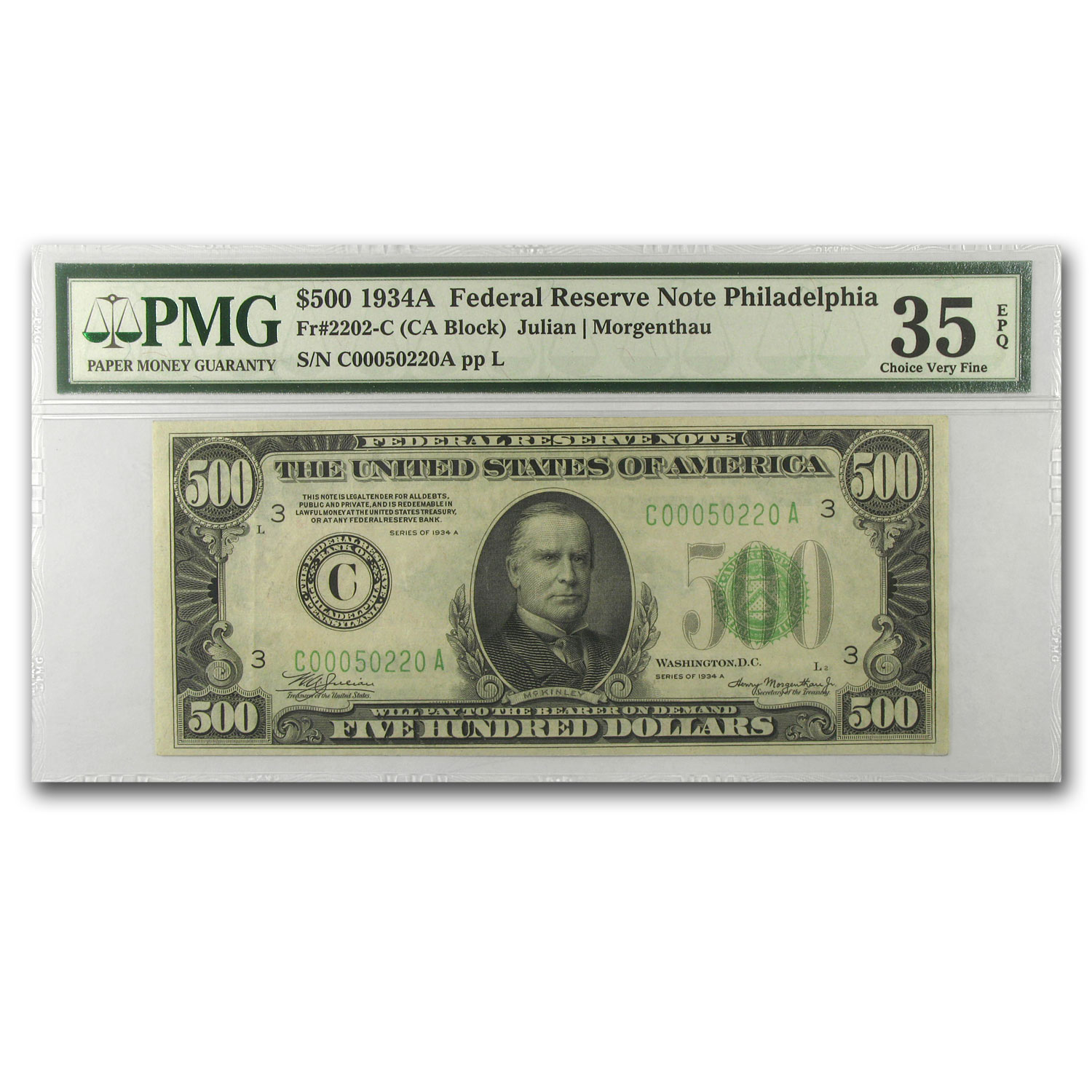 1934-A (G-Chicago) $1,000 FRN Choice VF-35 Net PMG