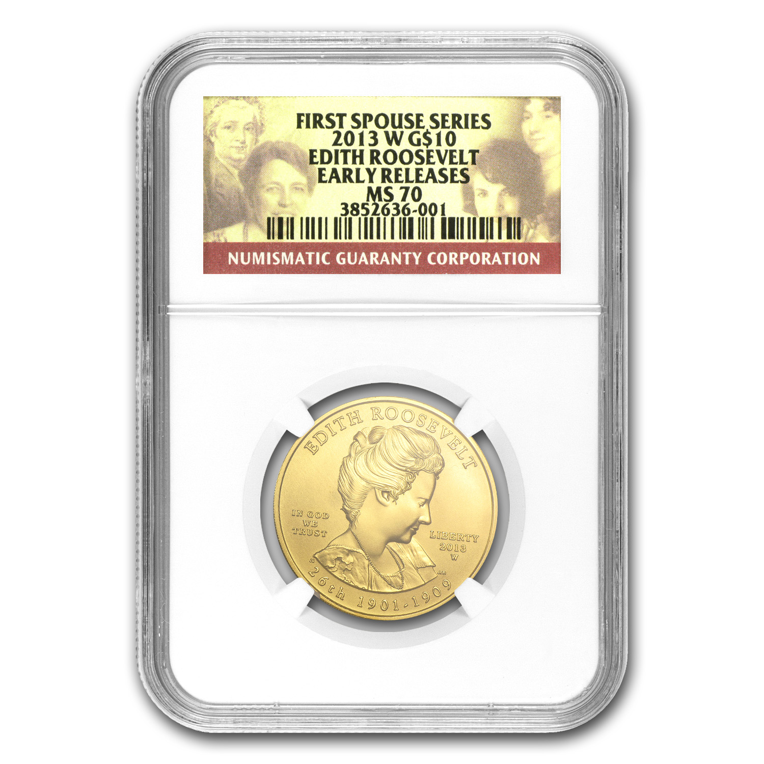 2013-W 1/2 oz Gold Edith Roosevelt MS-70 NGC (Early Release)