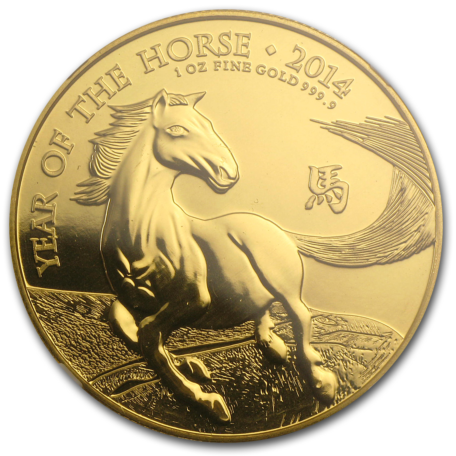 2014 Great Britain 1 oz Gold Year of the Horse MS-69 NGC ER