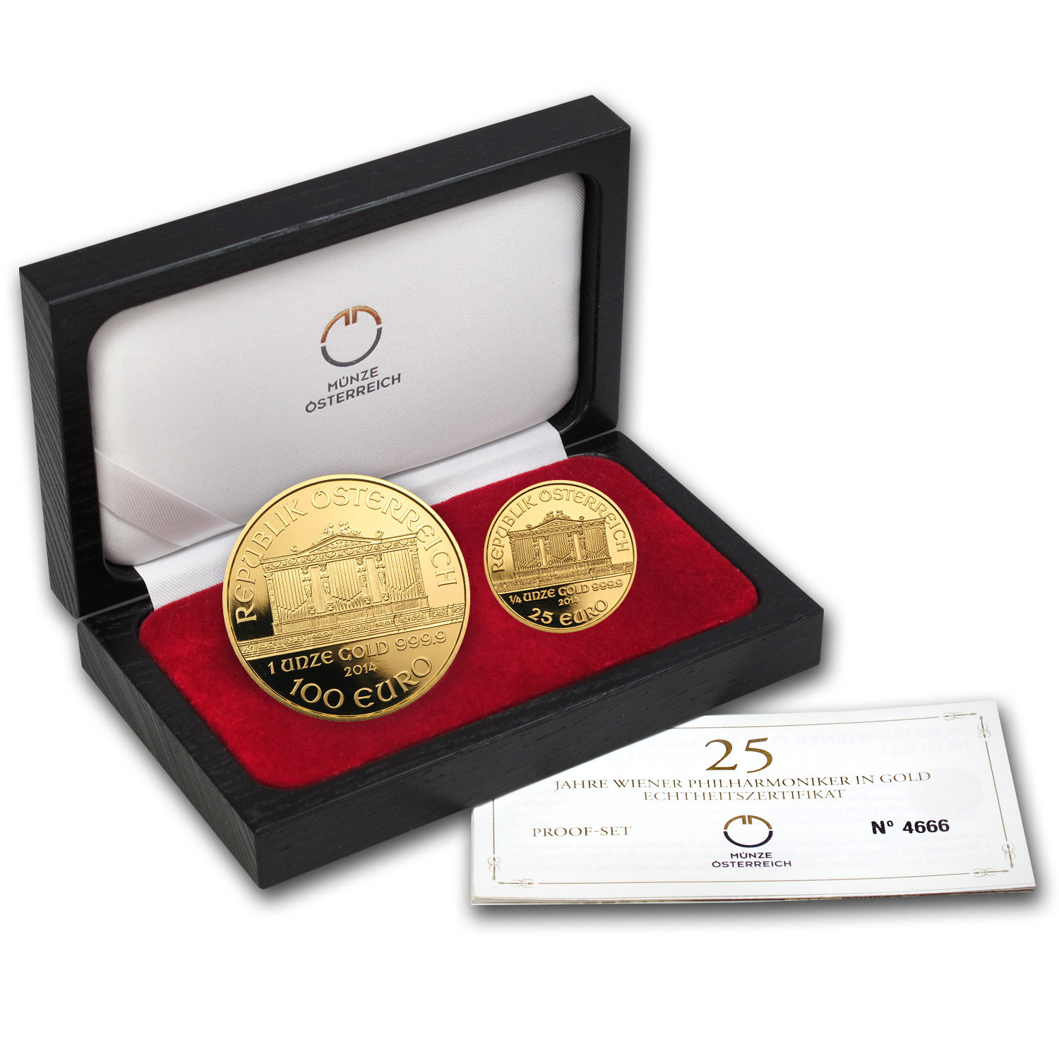 2014 Austria 2-Coin Gold Philharmonic Limited Edition Proof Set