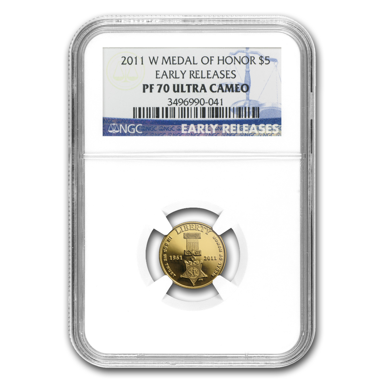 2011-W Gold $5 Commem Medal of Honor PF-70 NGC (ER)