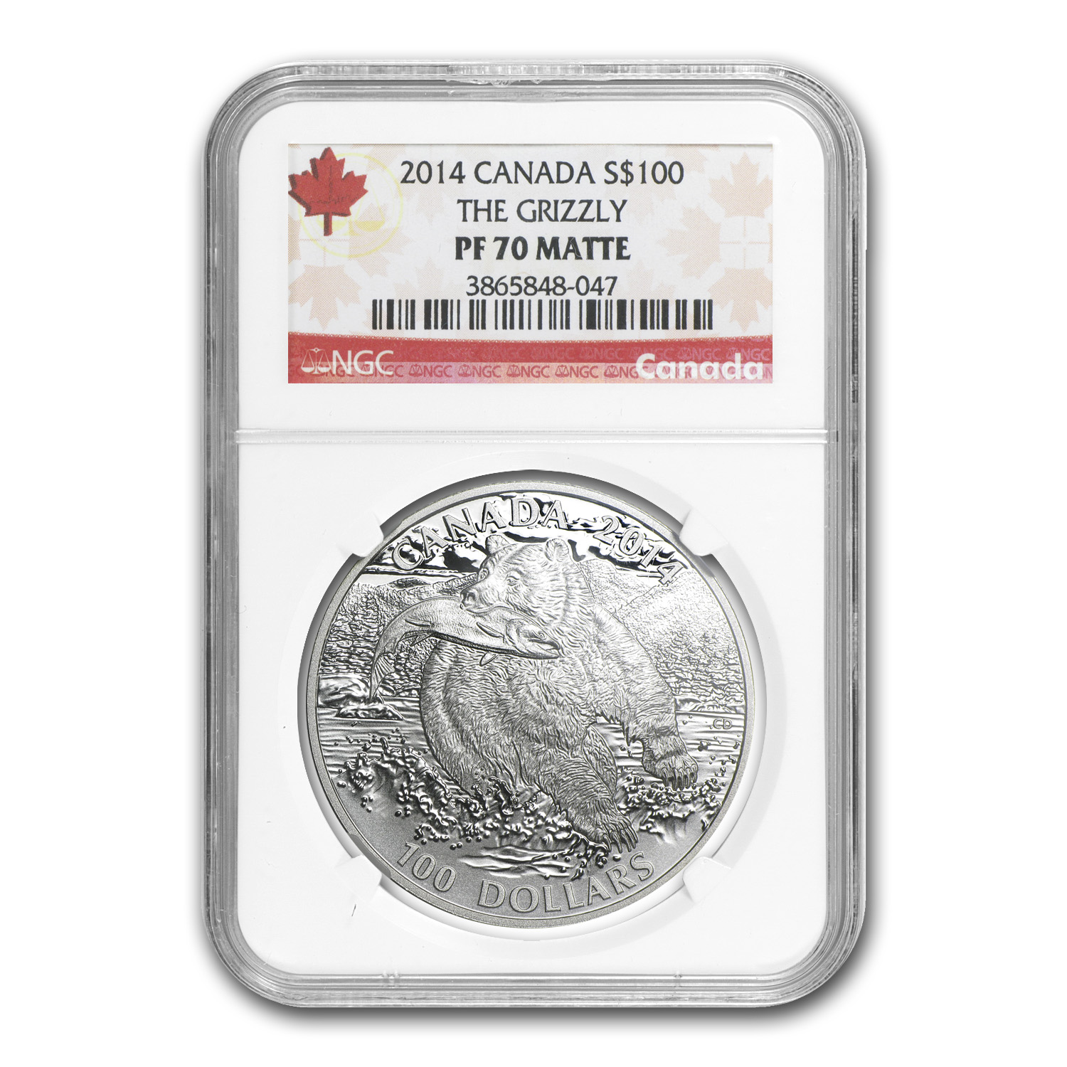 2014 1 oz Silver Canadian $100 - Grizzly Bear - PF-70 Matte - NGC
