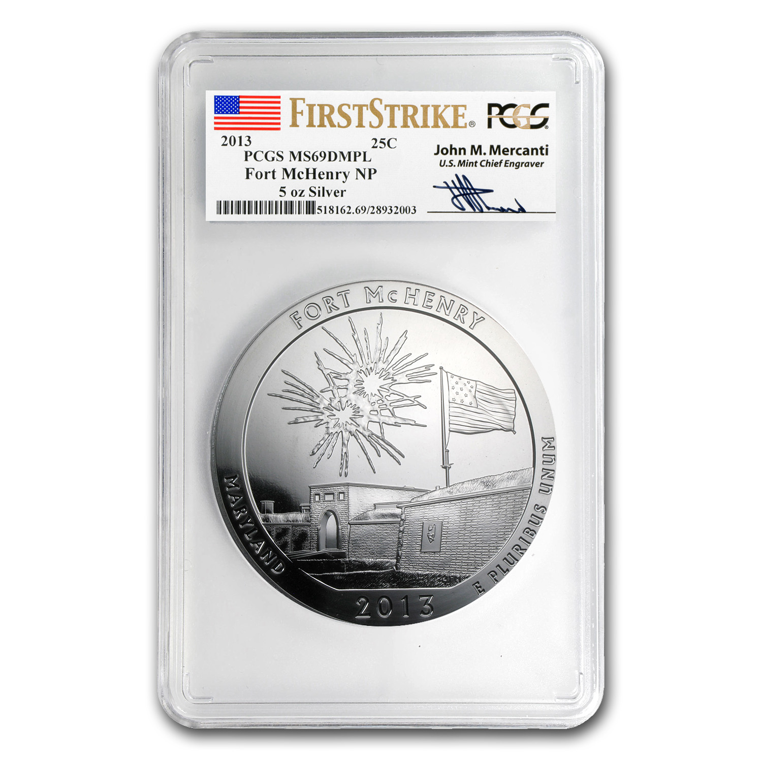 2013 5-Coin 5 oz Silver ATB Set MS-69-DMPL PCGS (FS, Mercanti)