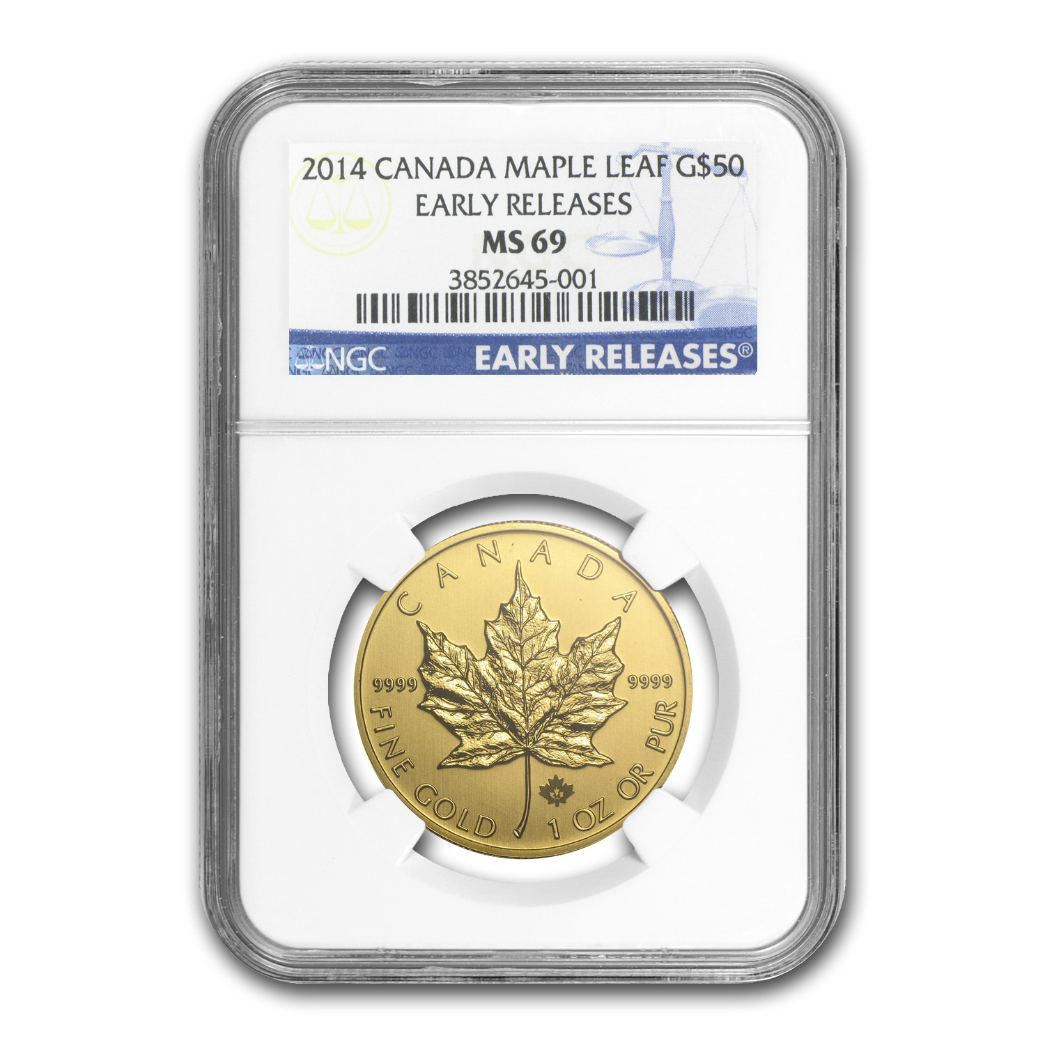 2014 Canada 1 oz Gold Maple Leaf MS-69 NGC (Early Releases)