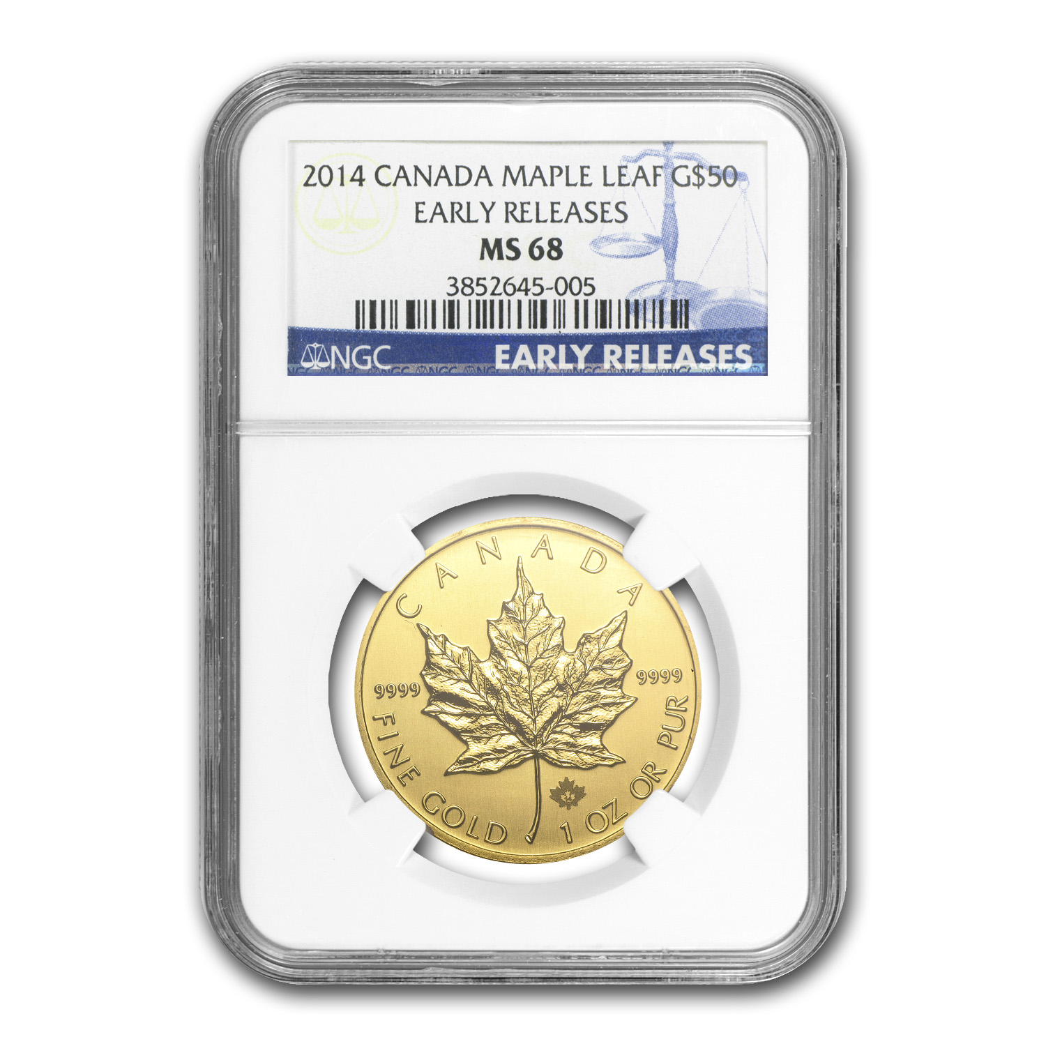 2014 1 oz Gold Canadian Maple Leaf MS-68 NGC Early Releases