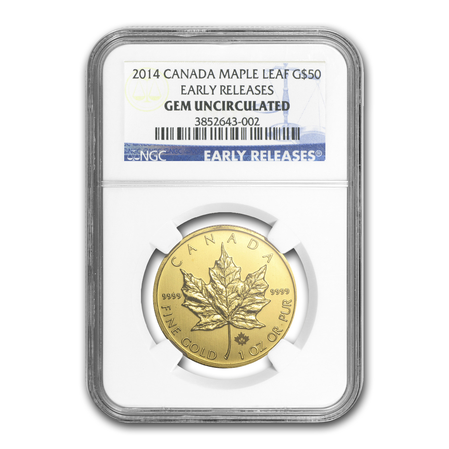 2014 Canada 1 oz Gold Maple Leaf Gem Unc NGC (Early Releases)
