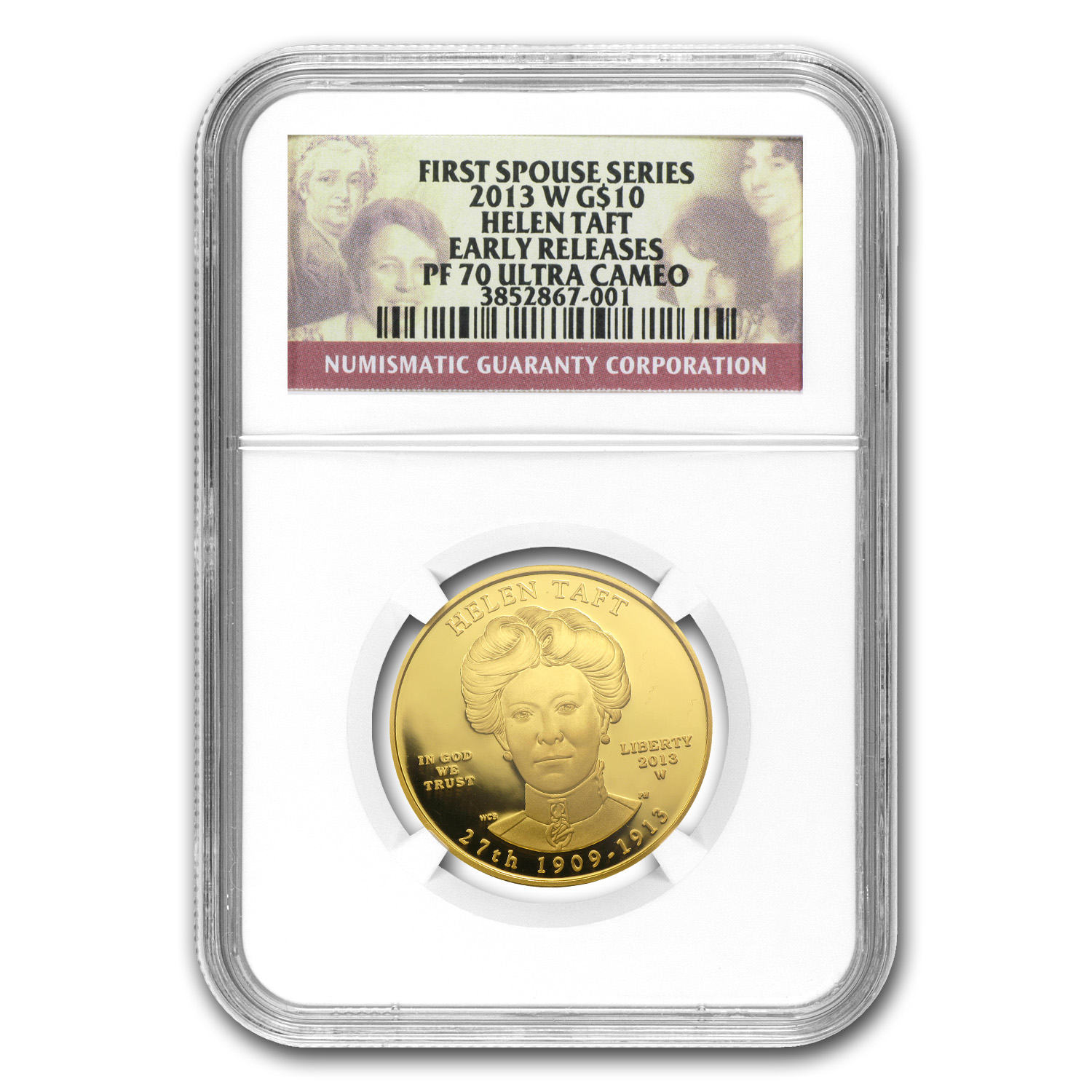 2013-W 1/2 oz Proof Gold Helen Taft PF-70 NGC (ER)