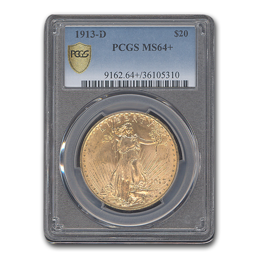 1913-D $20 St. Gaudens Gold Double Eagle MS-64+ PCGS
