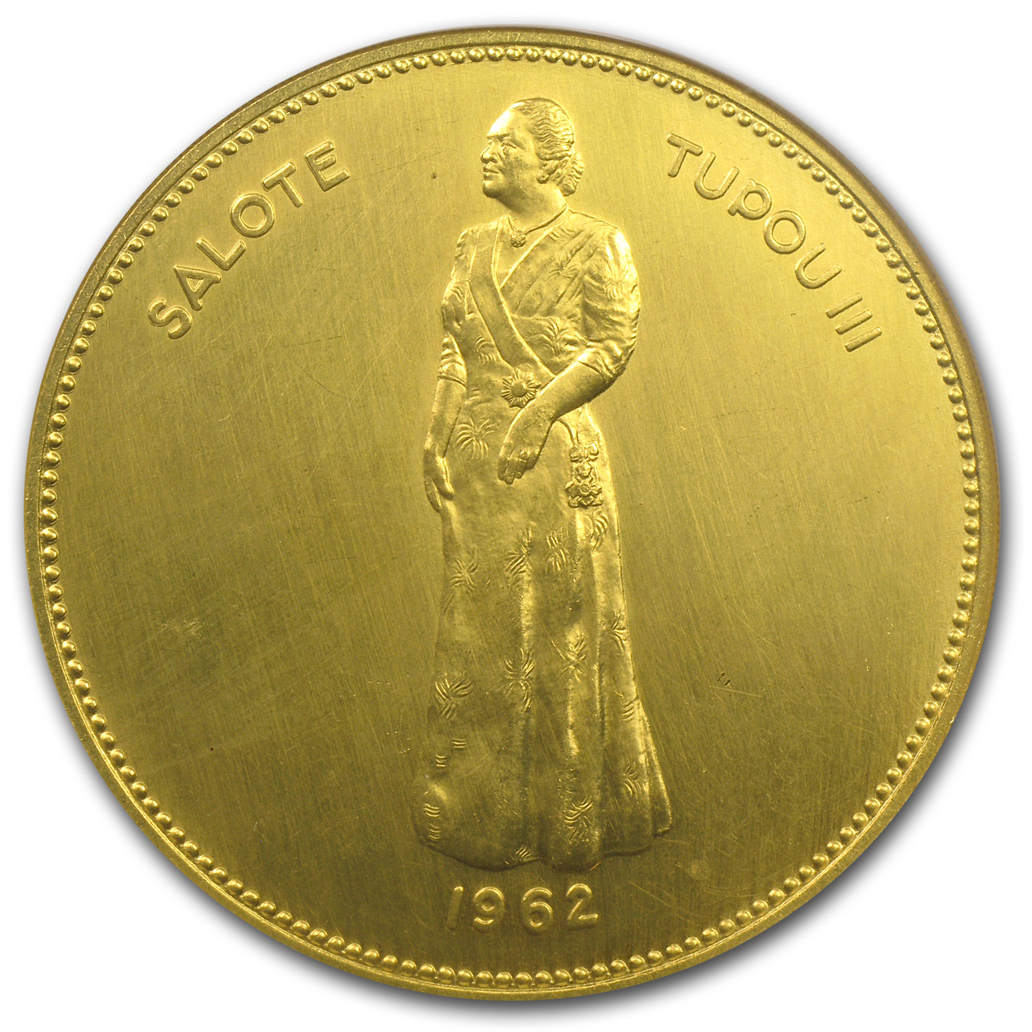 1962 Tonga Gold 1 Koula Queen Salote Unc Details NGC