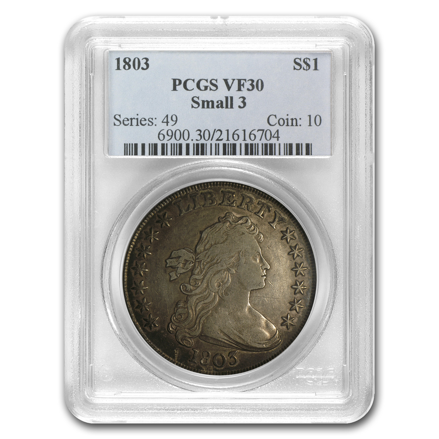 1803 Draped Bust Dollar Very Fine-30 PCGS (Small 3)