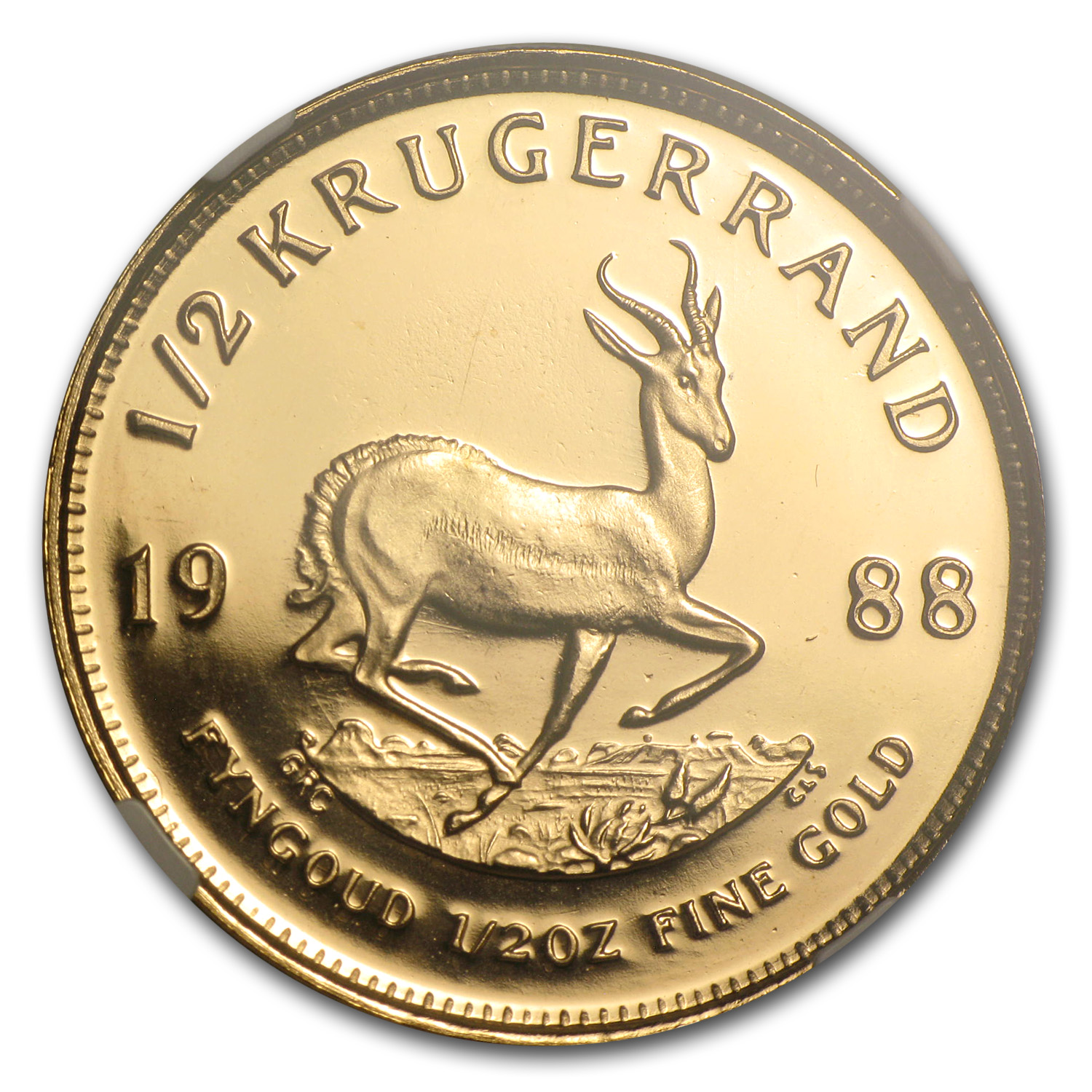 1988 1/2 oz Gold South African Krugerrand PF-68 NGC (GRC)