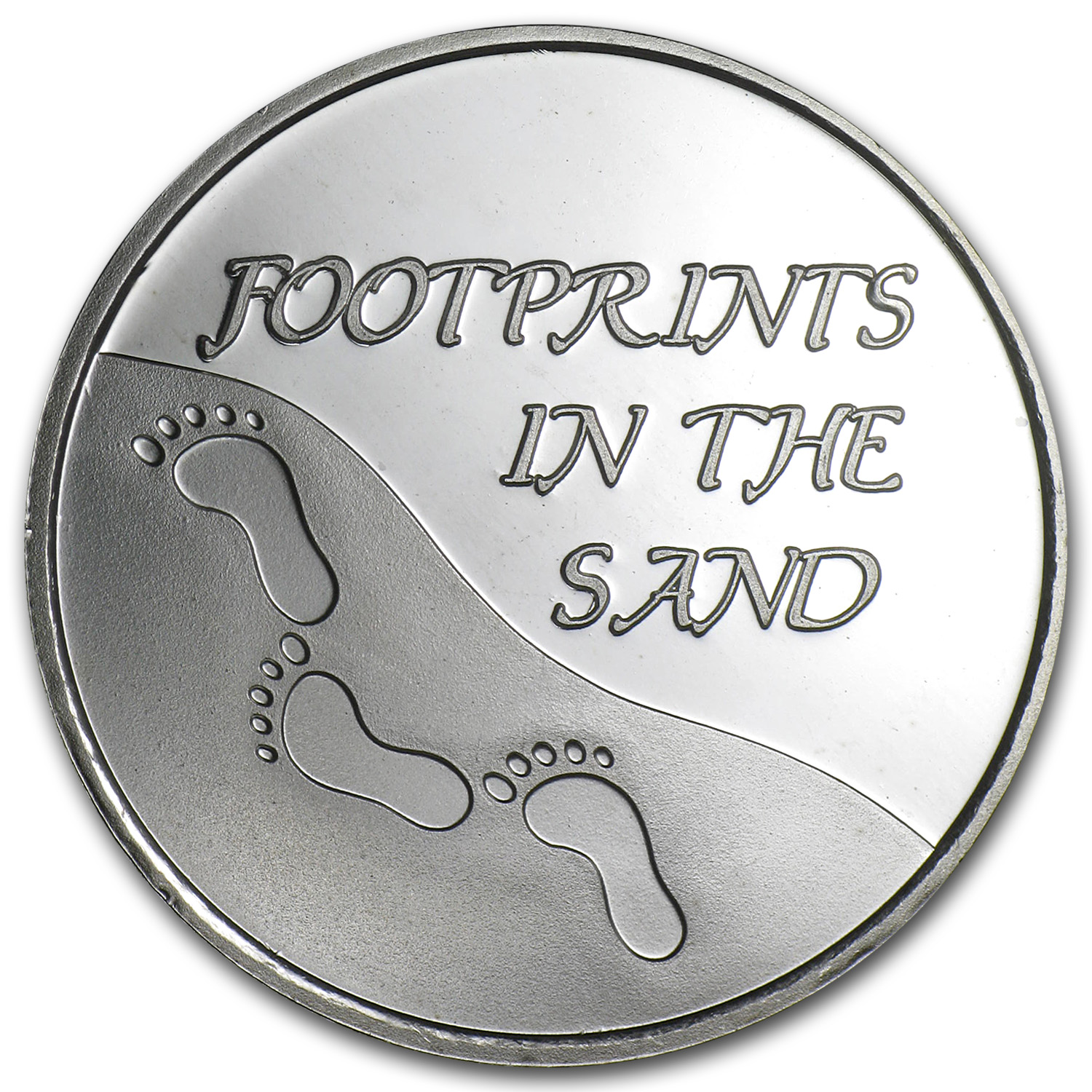 1 oz Silver Rounds - Footprints in the Sand - (Plain/w/Box & Cap)