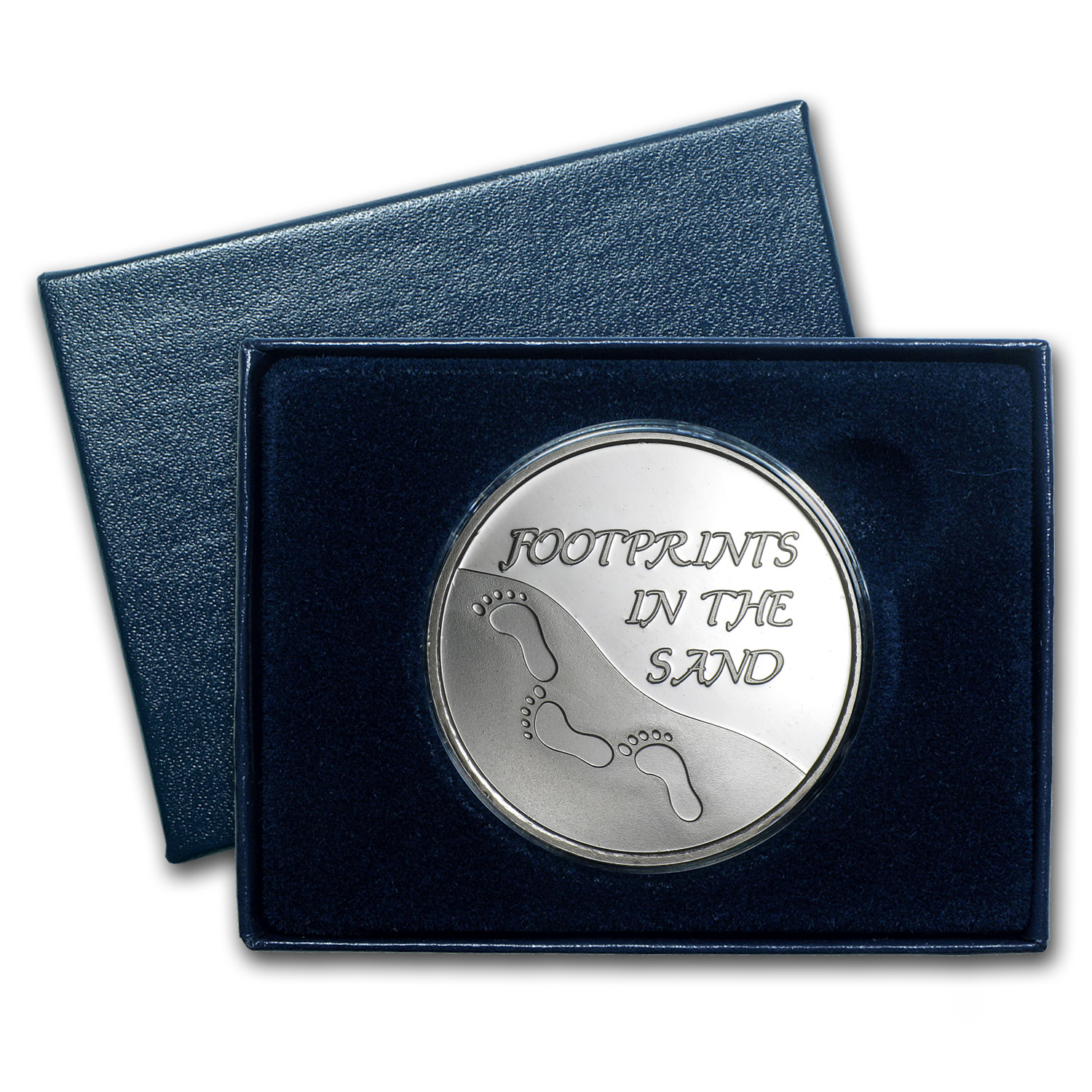 1 oz Silver Rnd - Footprints in the Sand (Plain, w/Box & Capsule)