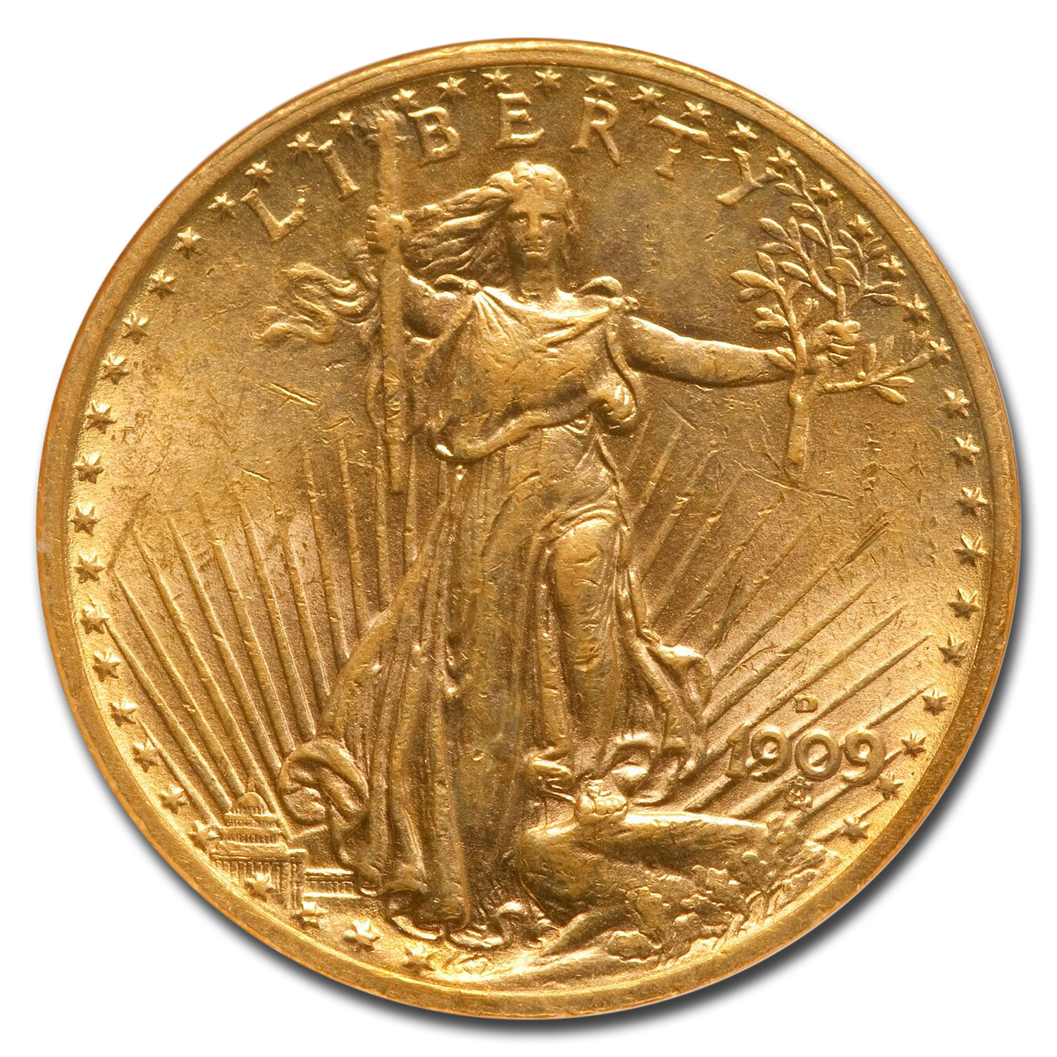 1909-D $20 St. Gaudens Gold Double Eagle - AU-58 NGC