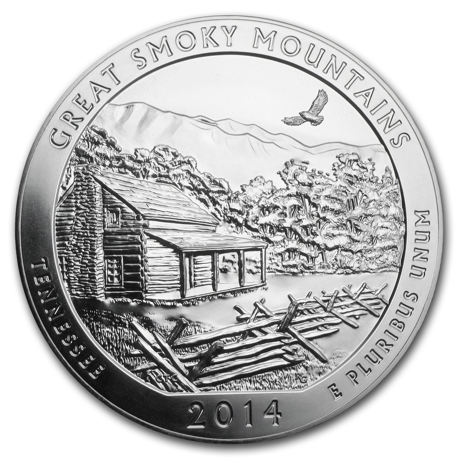 2014 5 oz Silver ATB Great Smoky Mtns (10-Coin MintDirect® Tube)