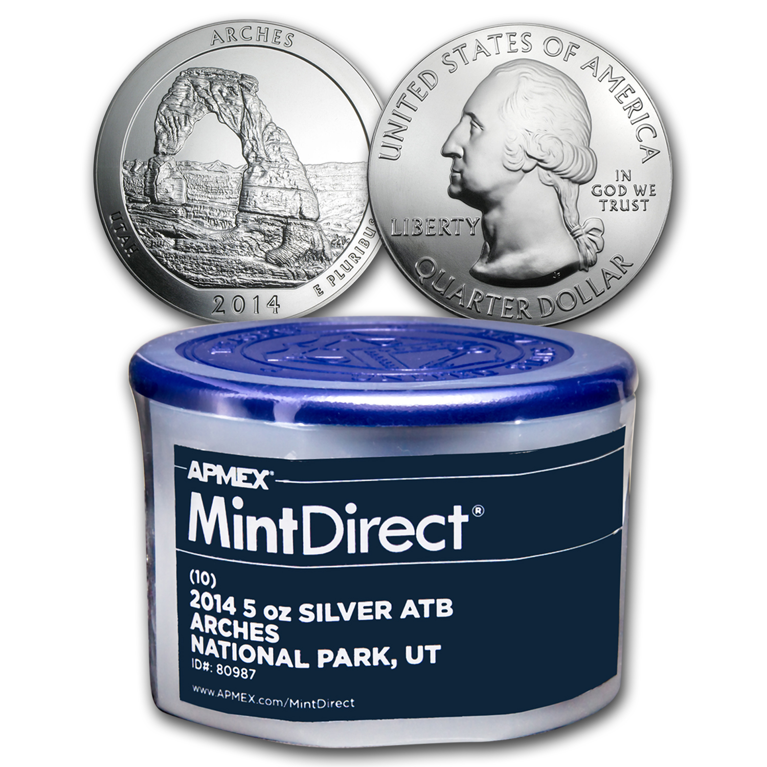 2014 5 oz Silver ATB Arches (10-Coin MintDirect® Tube)