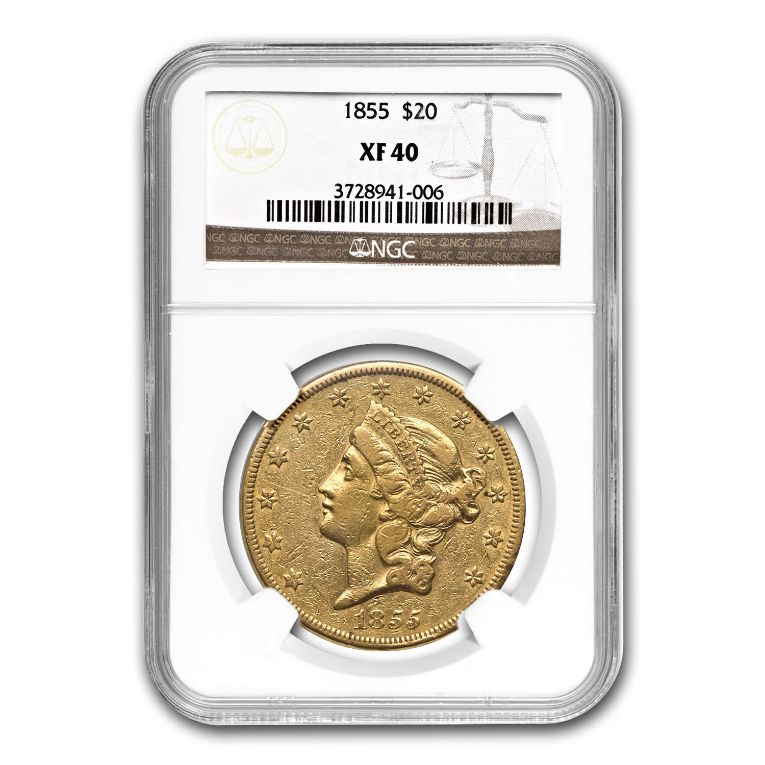 1855 $20 Liberty Gold Double Eagle XF-40 NGC