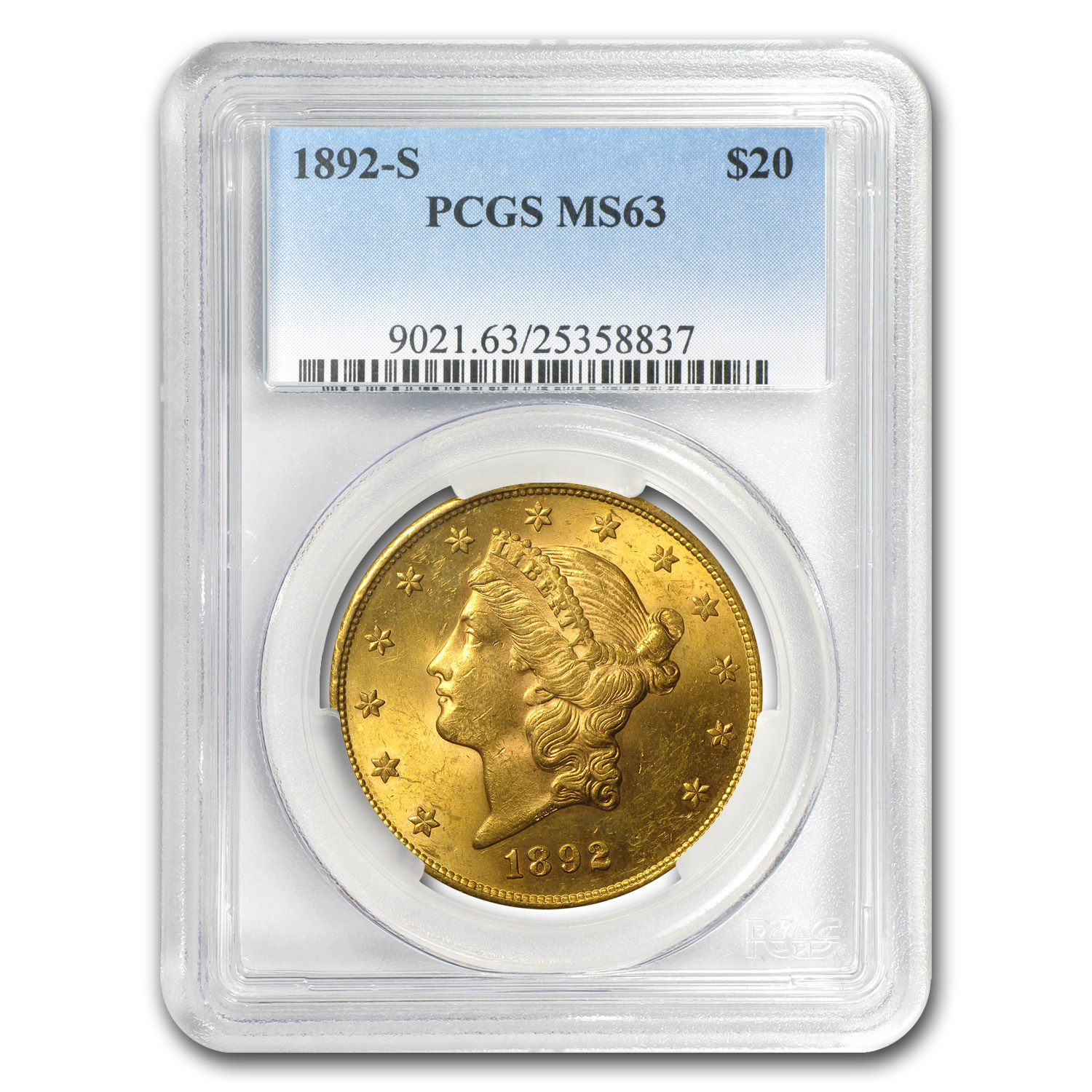 1892-S $20 Gold Liberty Double Eagle - MS-63 PCGS
