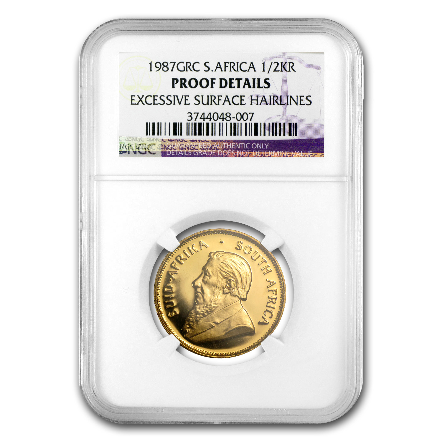 1987 South Africa 1/2 oz Gold Krugerrand PF Details NGC (GRC)