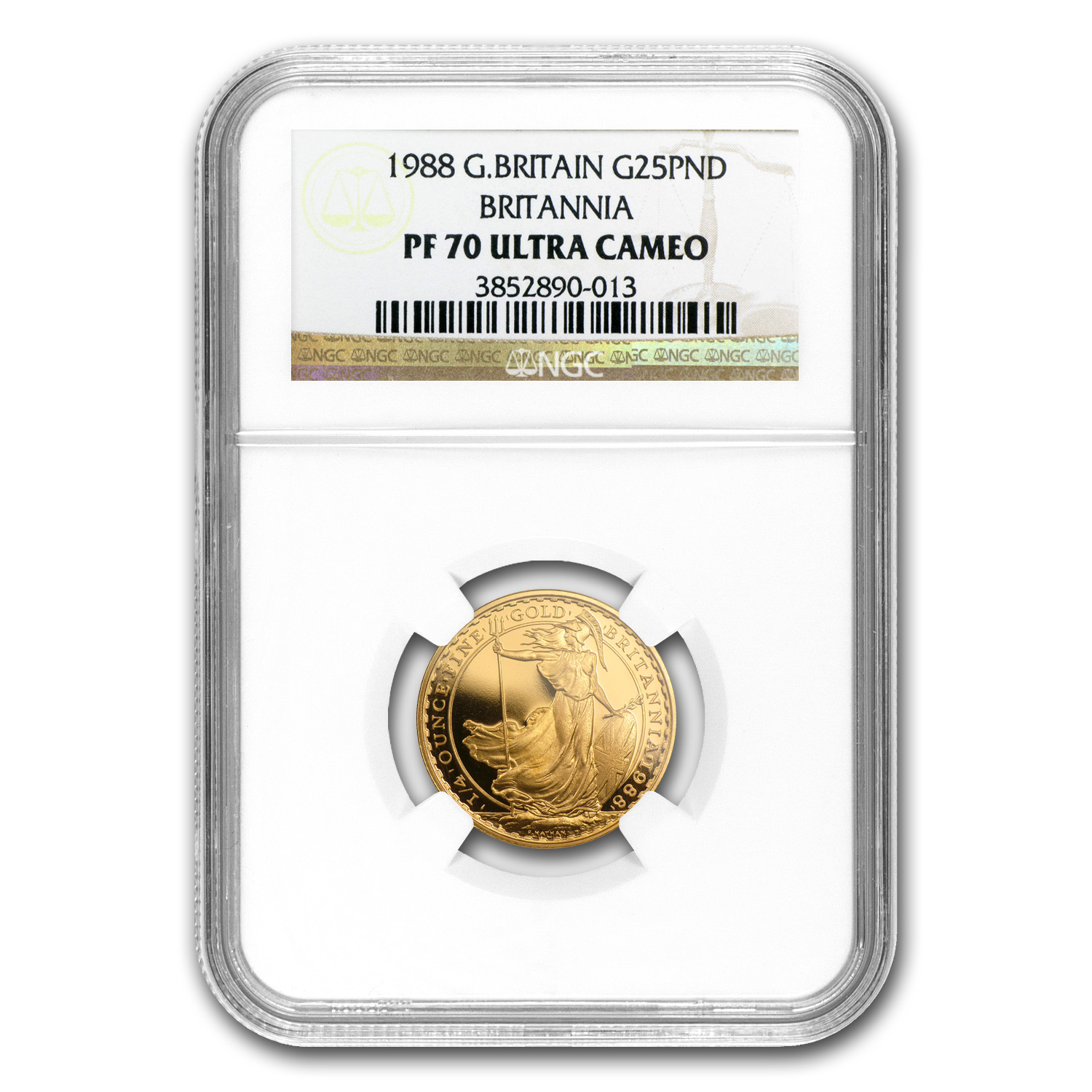 1988 Great Britain 1/4 oz Proof Gold Britannia PF-70 NGC
