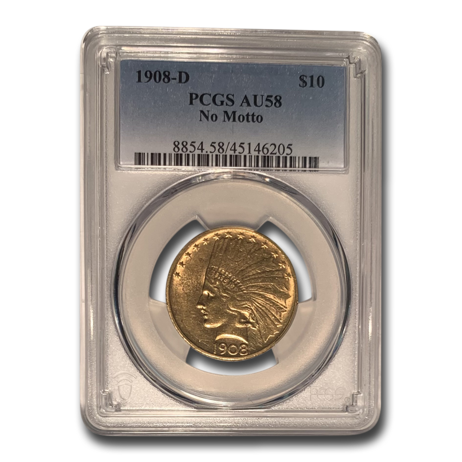1908-D $10 Indian Gold Eagle No Motto AU-58 PCGS