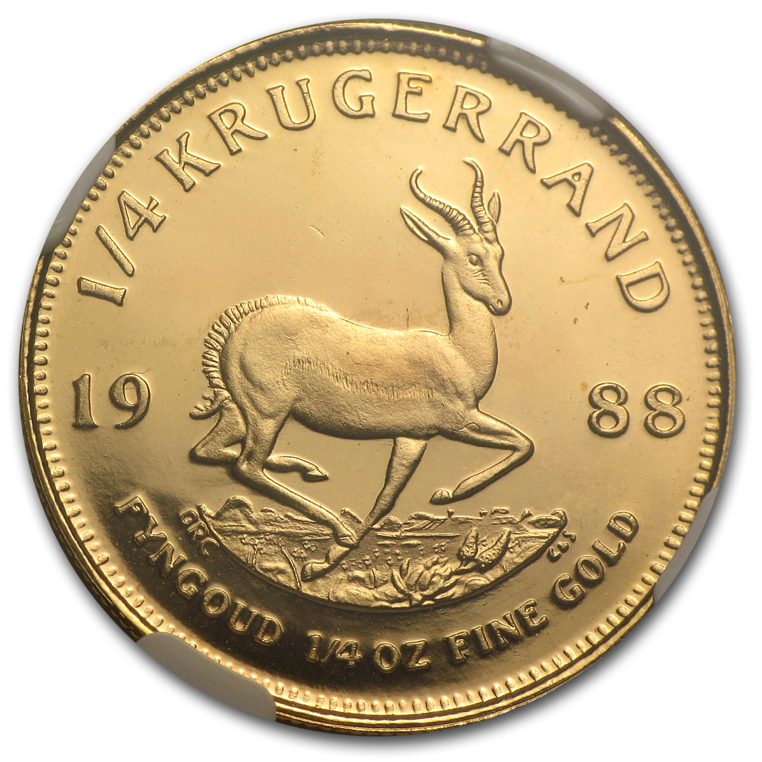 1988 1/4 oz Gold South African Krugerrand PF-68 NGC (GRC)