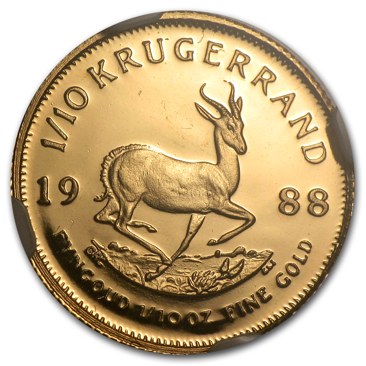 1988 1/10 oz Gold South African Krugerrand PF-69 NGC (GRC)