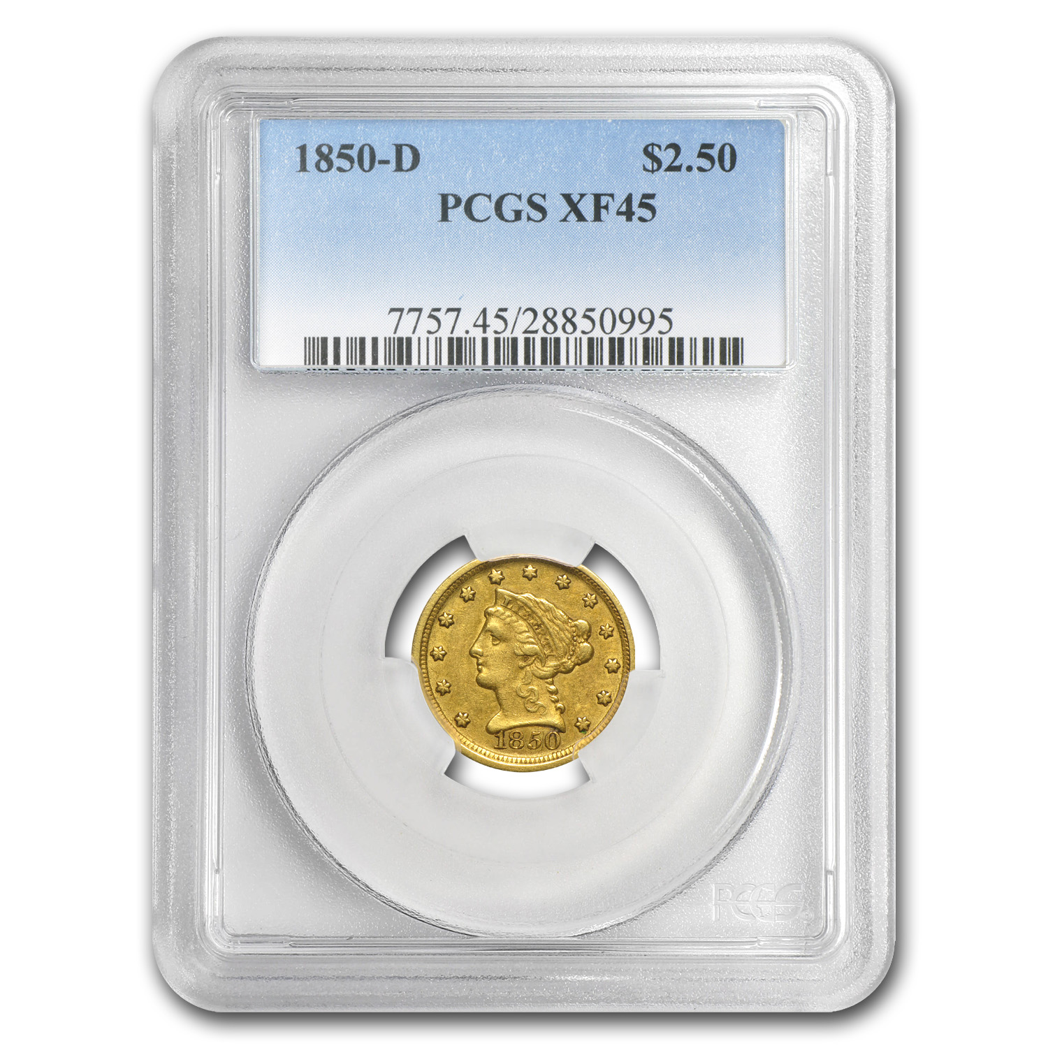 1850-D $2.50 Liberty Gold Quarter Eagle XF-45 PCGS