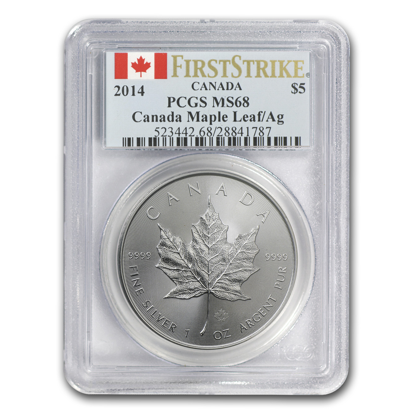 2014 1 oz Silver Canadian Maple Leaf MS-68 PCGS (First Strike)