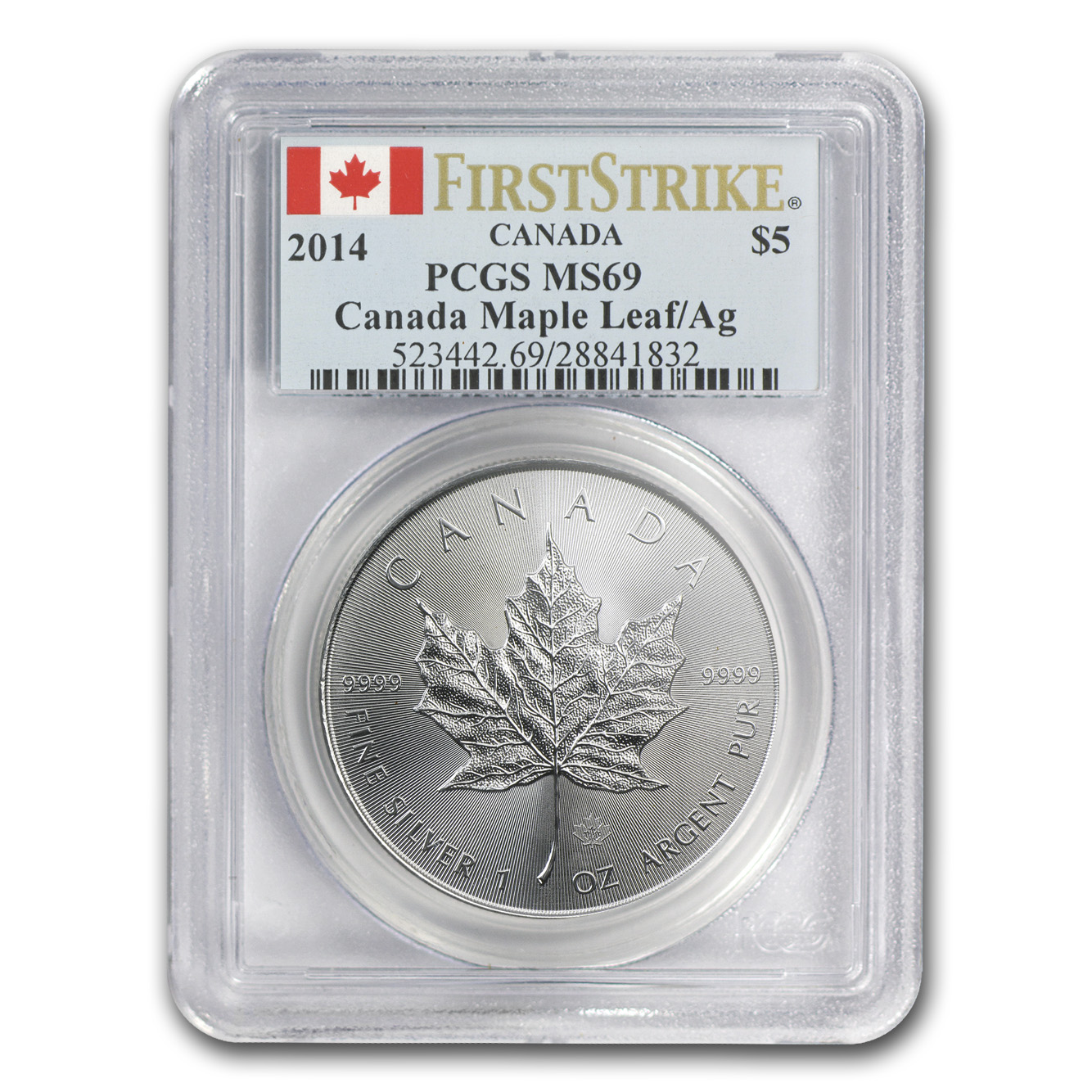 2014 1 oz Silver Canadian Maple Leaf MS-69 PCGS First Strike