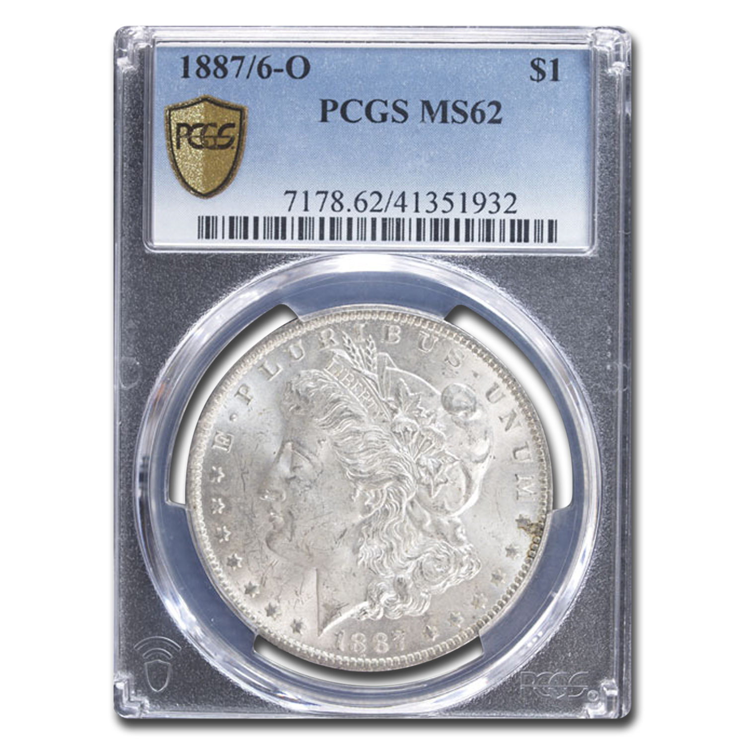 1887/6-O Morgan Dollar MS-62 PCGS (VAM-3, Overdate, Top-100)