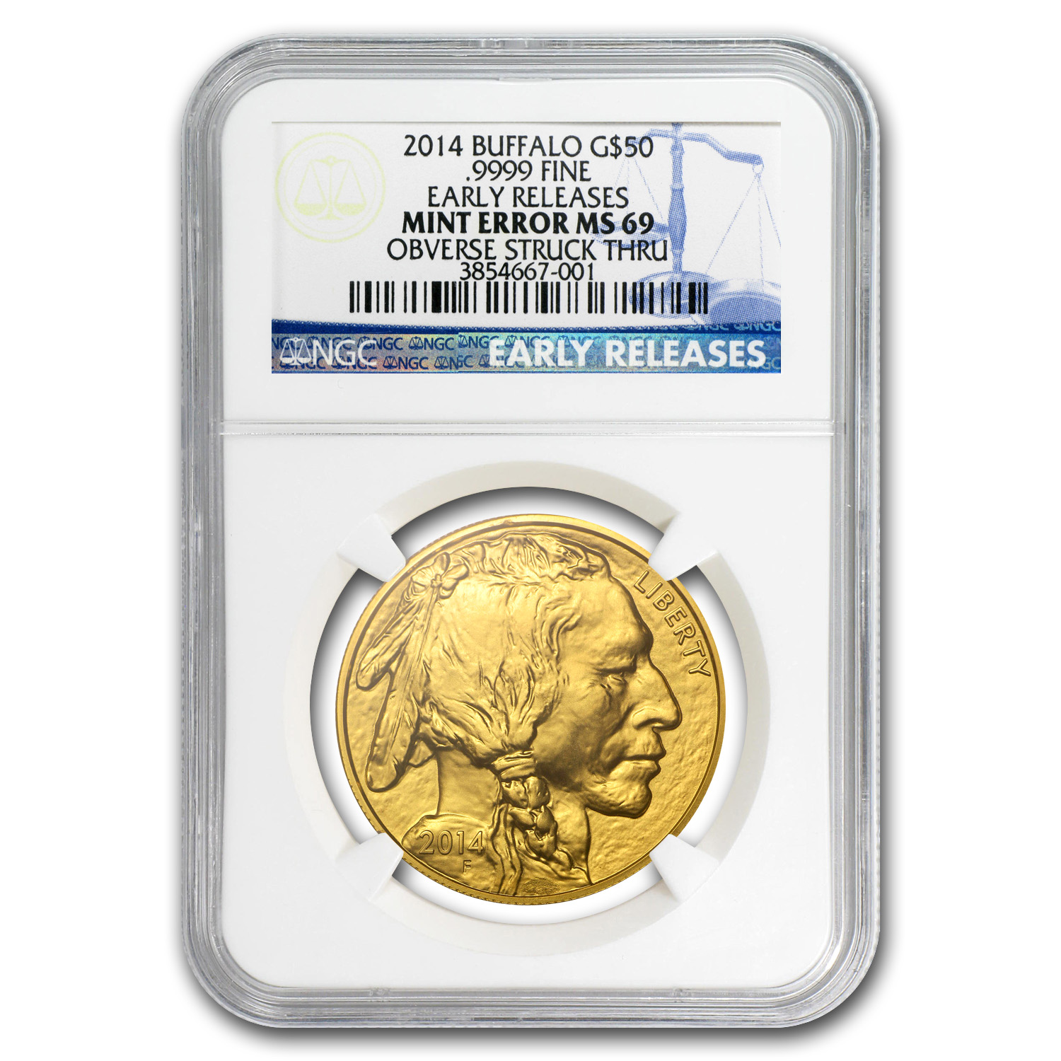 2014 1 oz Gold Buffalo MS-69 NGC (ER, Mint Error)