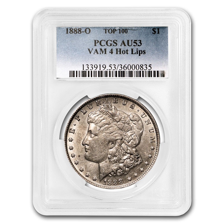 1888-O Morgan Dollar AU-53 PCGS VAM-4 Hot Lips Top-100